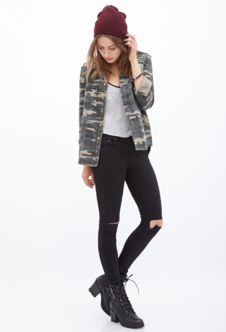 Forever 21 Camo Utility Jacket in Gray | Lyst
