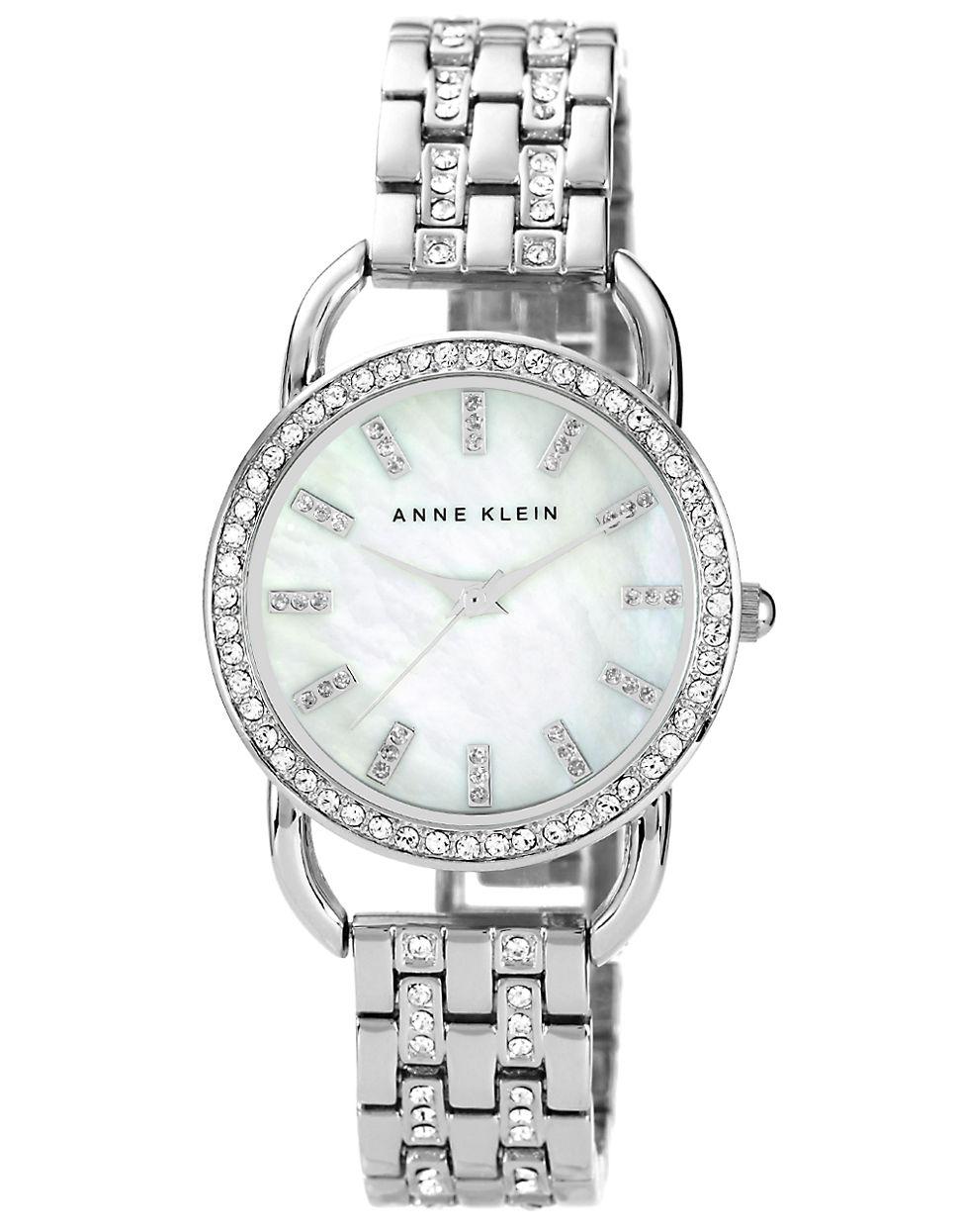 Anne klein ladies silvertone swarovski crystal watch in silver lyst for Anne klein swarovski crystals