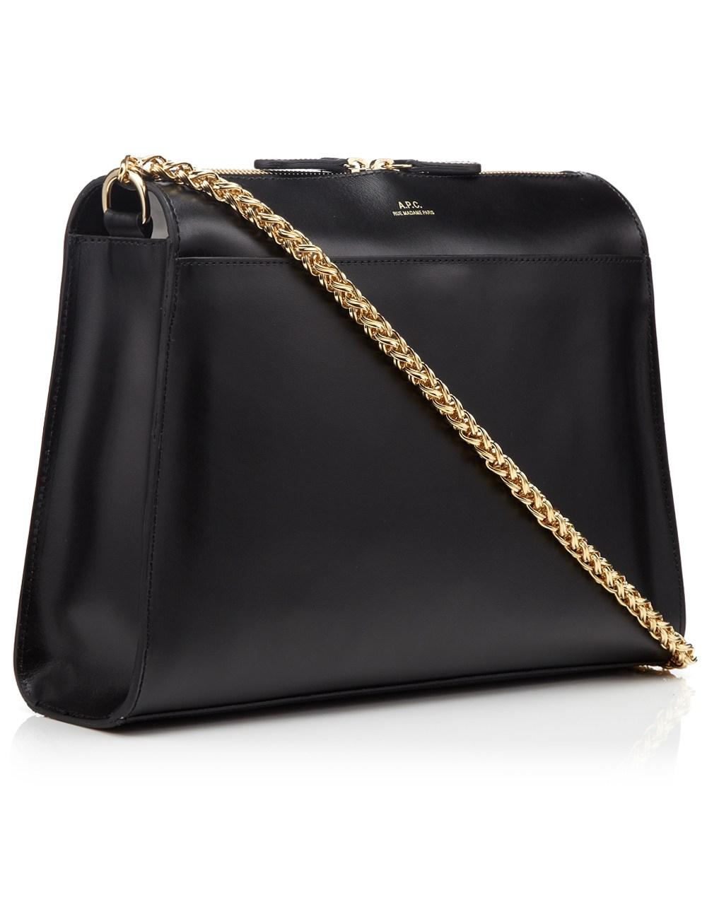 A.p.c. Black Leather Edith Shoulder Bag in Black | Lyst