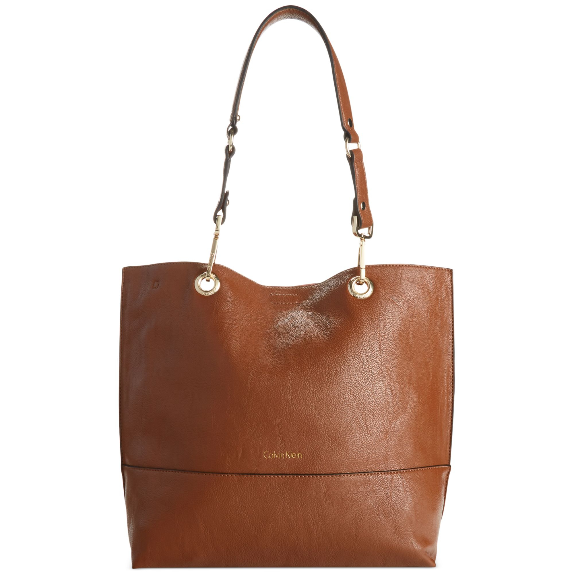 Calvin Klein Reversible Tote With Pouch In Brown Luggage