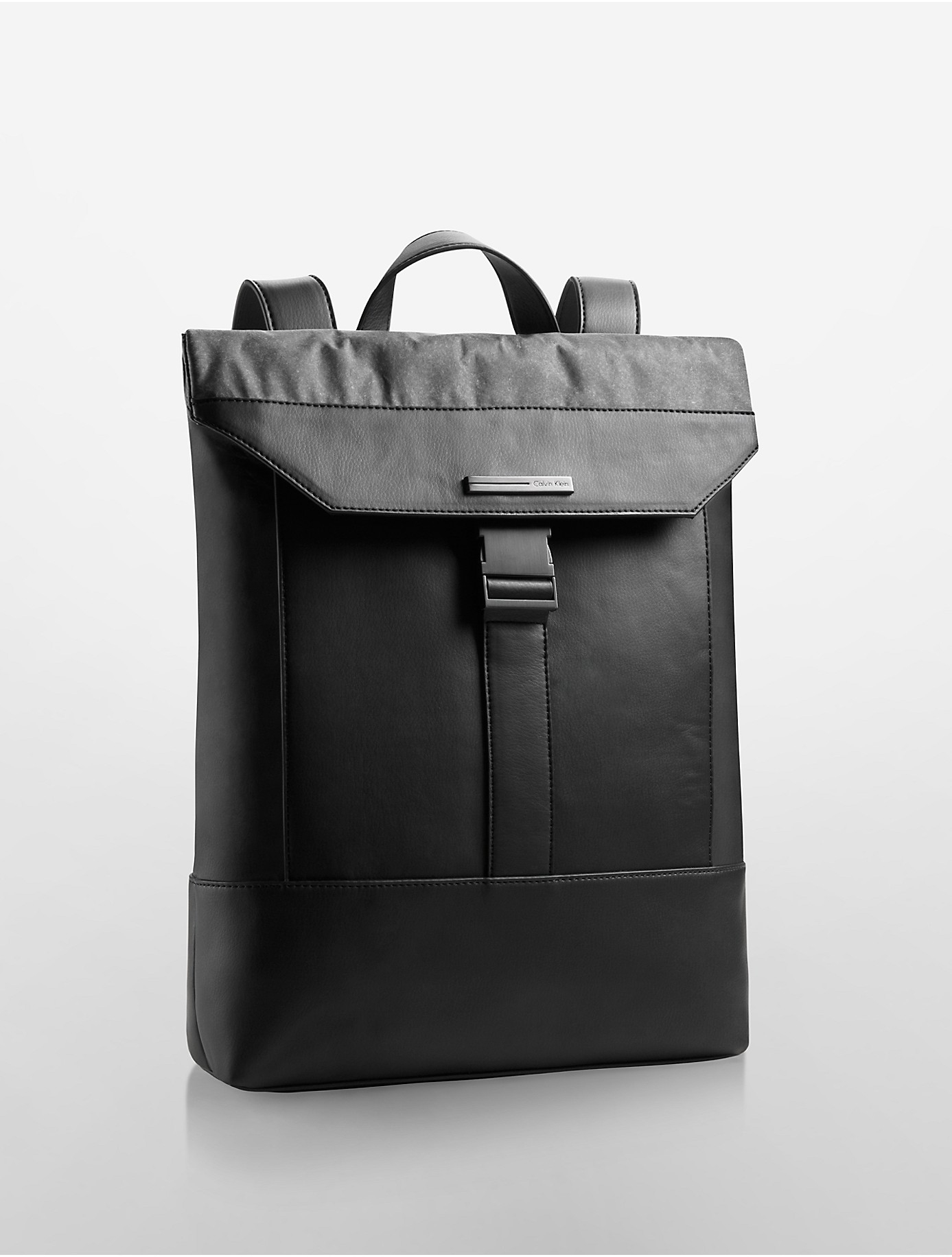 Calvin klein White Label Keaton Roll Top Backpack in Black for Men ...