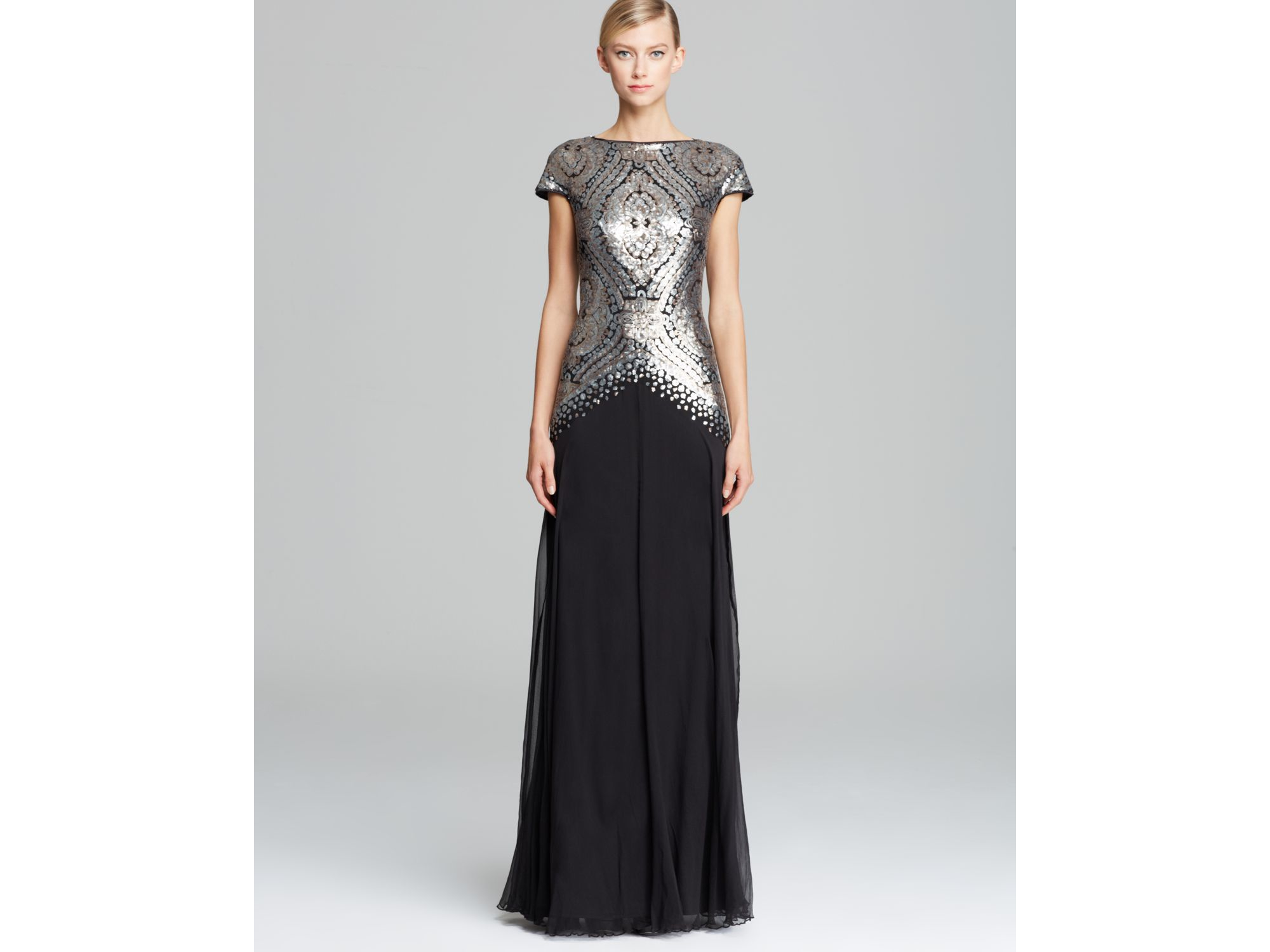 Black Cap Sleeve Sequin and Tulle Dress