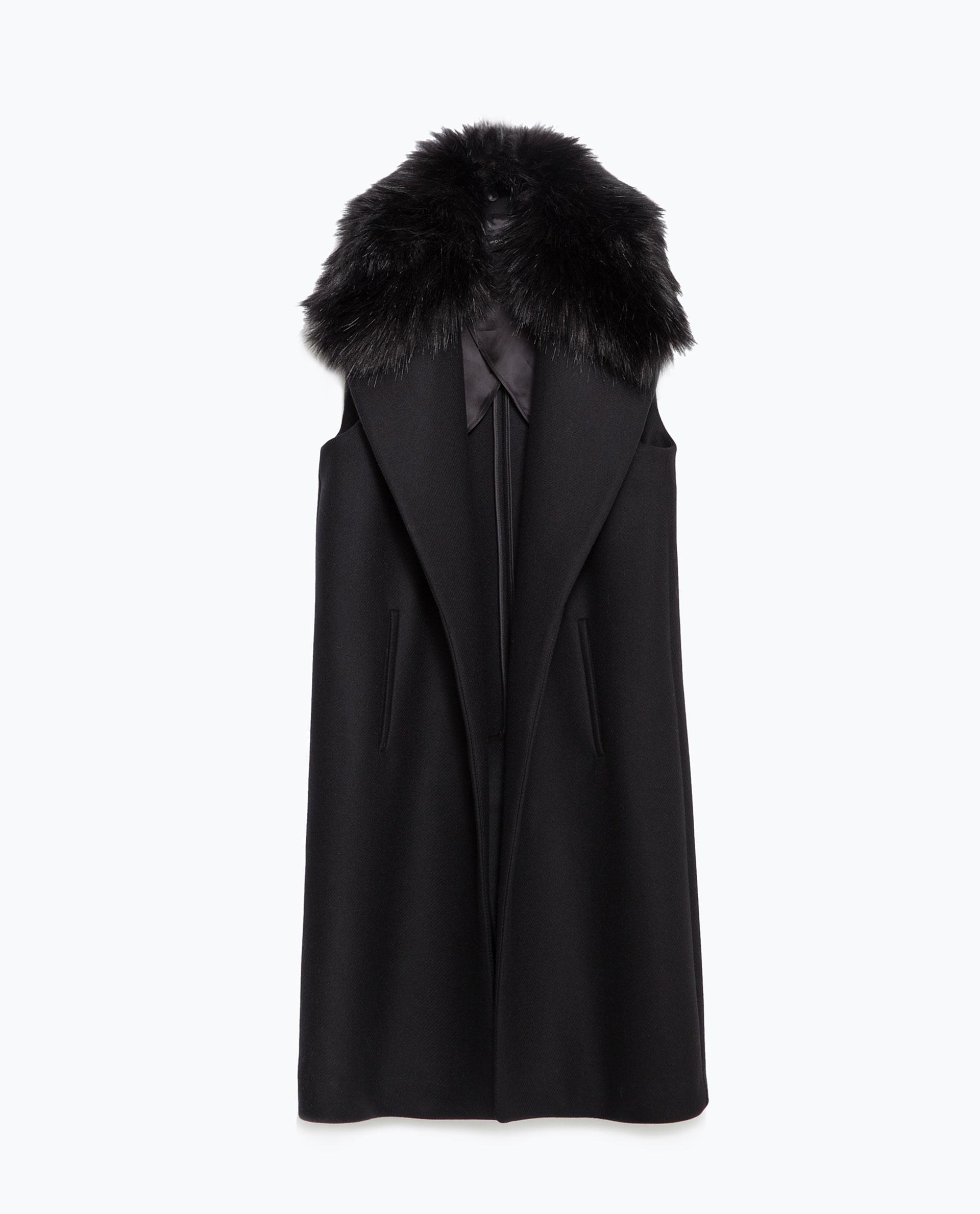 Zara Long Waistcoat With Faux Fur Collar In Black Lyst