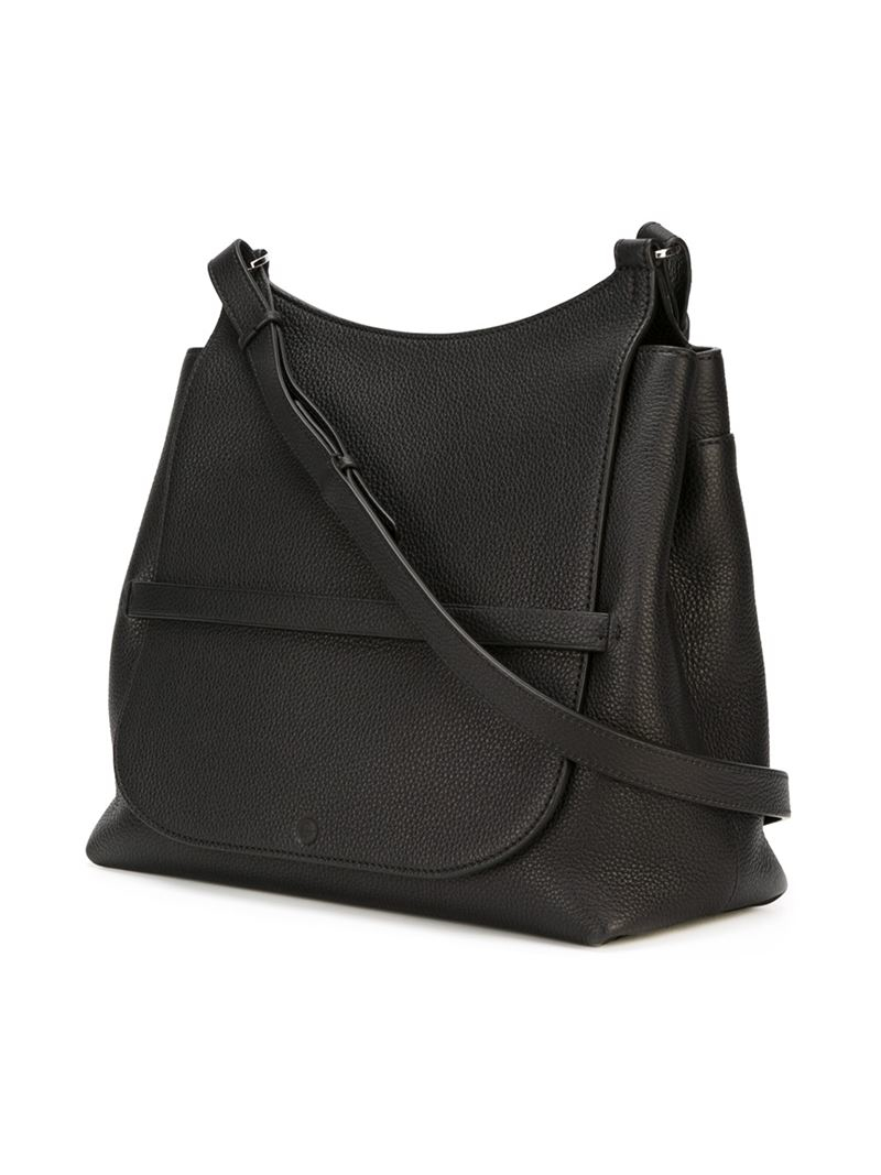 The Row Leather 'Sideby' Crossbody Bag in Black
