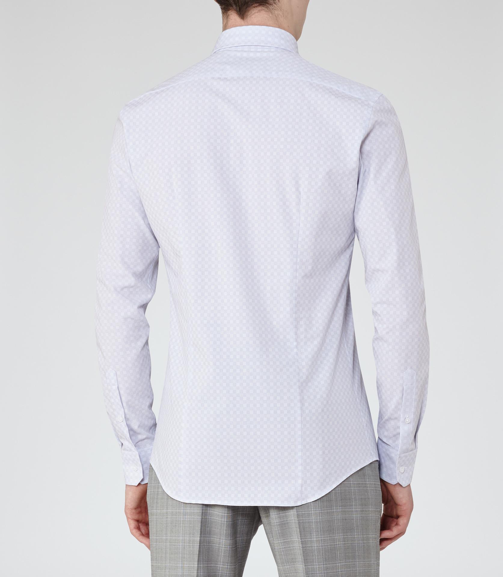 Reiss Cubit Cutaway Collar Check Shirt In Blue For Men Lyst