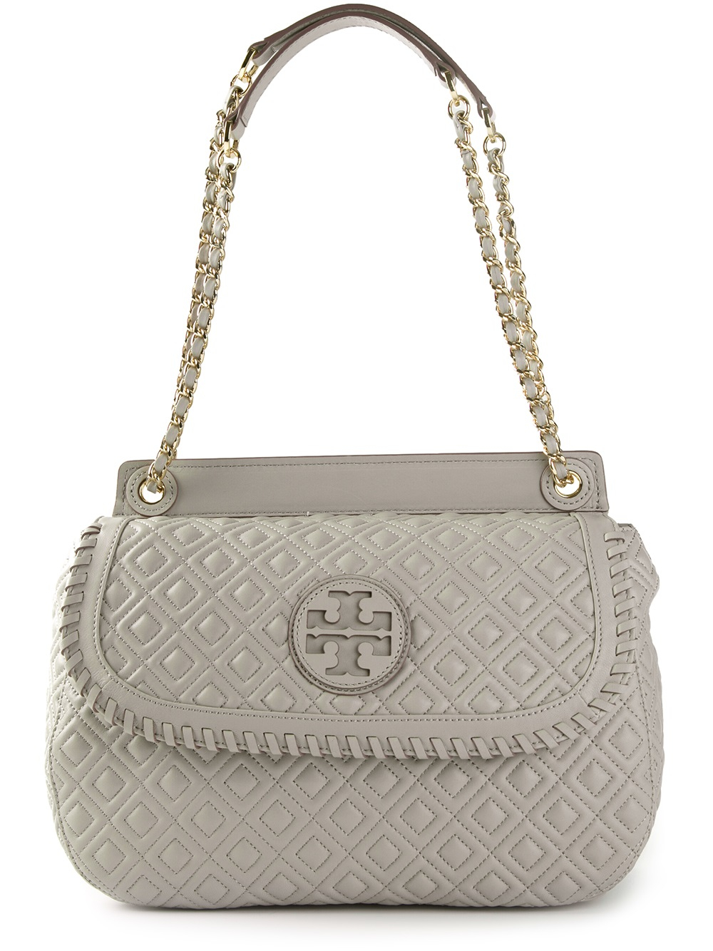 Tory Burch Marion Quilted Shoulder Bag In Grey Gray Lyst