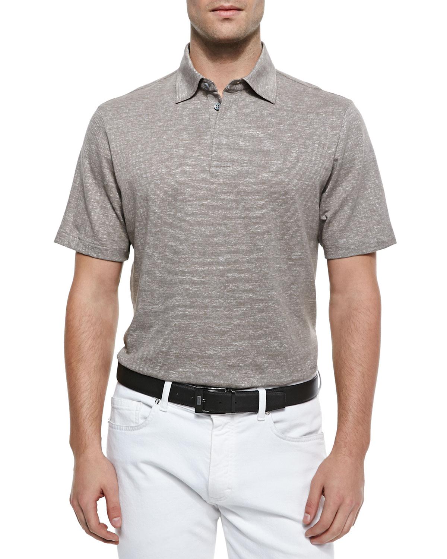 Lyst ermenegildo zegna spread collar polo shirt in brown for What is a spread collar shirt