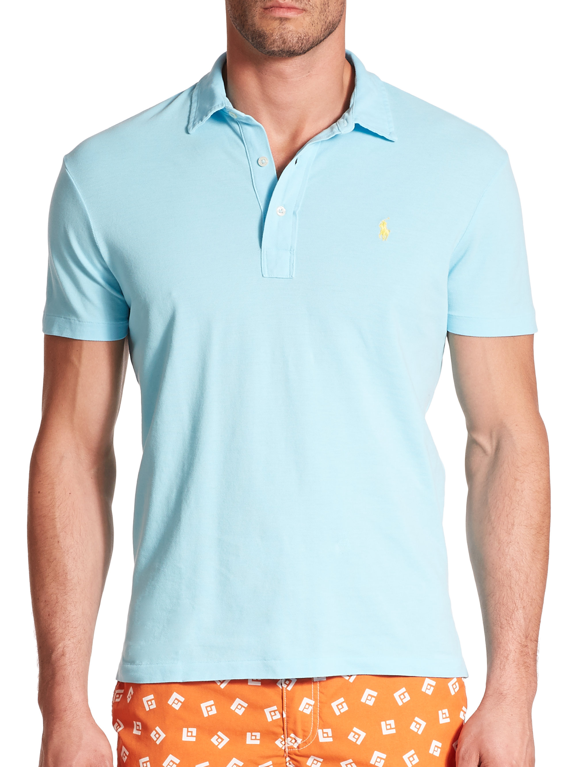 Lyst polo ralph lauren featherweight cotton polo shirt for Mens cotton polo shirts