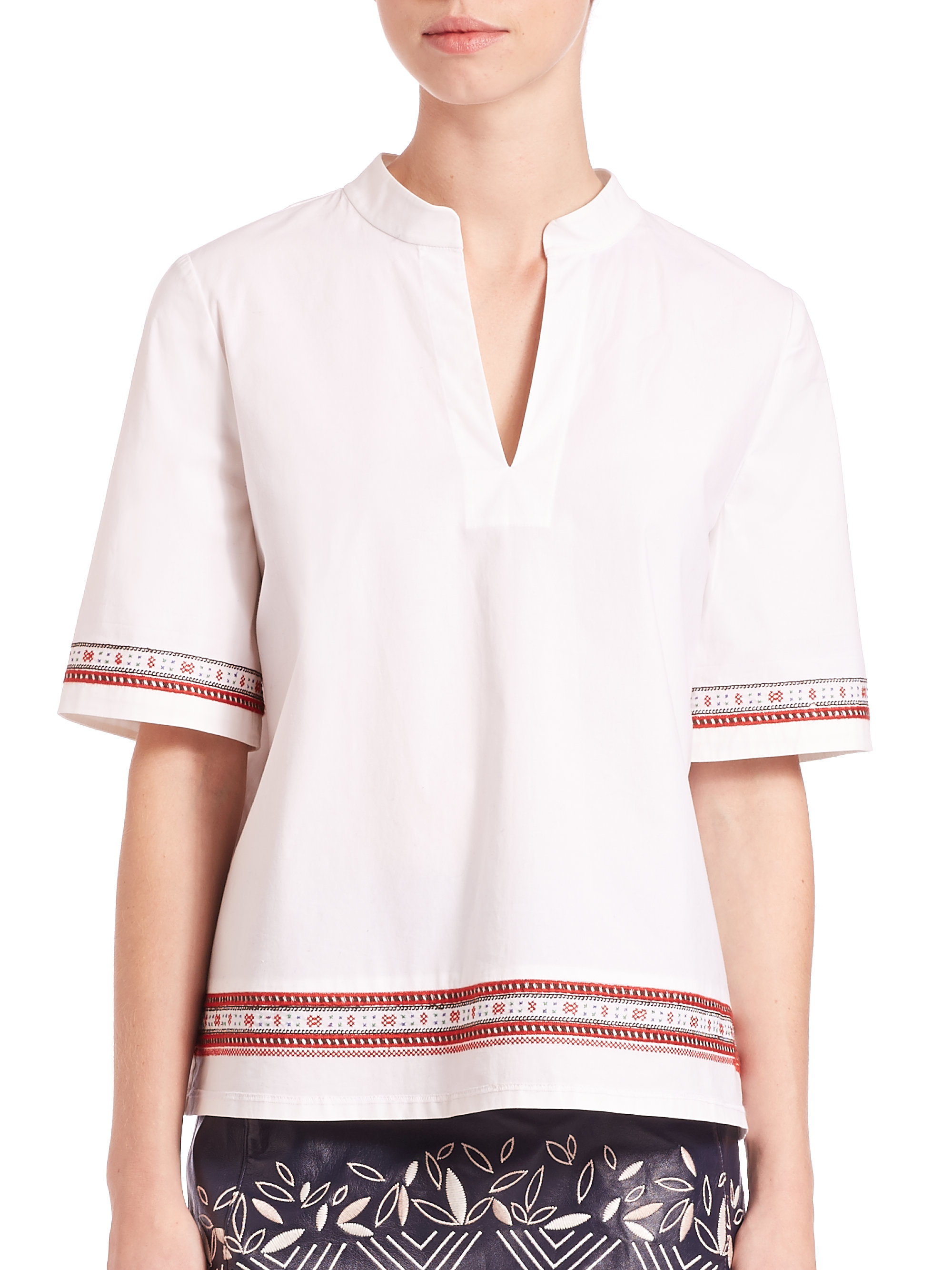 Discount Visit New Tory Burch Woman Button-detailed Stretch Cotton-poplin Top White Size 0 Tory Burch Buy Cheap Cheapest Price Clearance Hot Sale PpVNiN