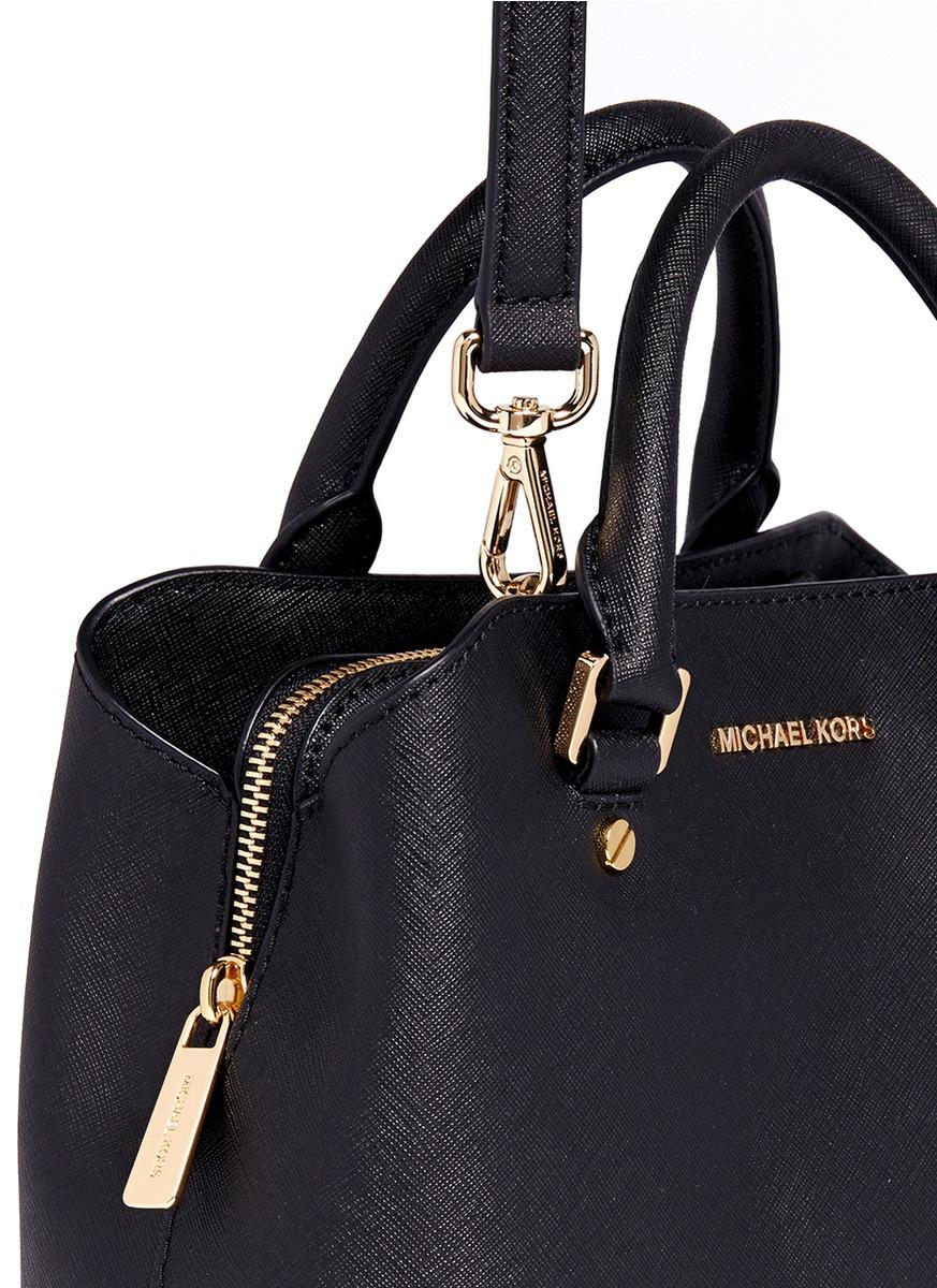 b3329869918f ... new style lyst michael kors savannah small saffiano leather satchel in  black 7aa25 9774b