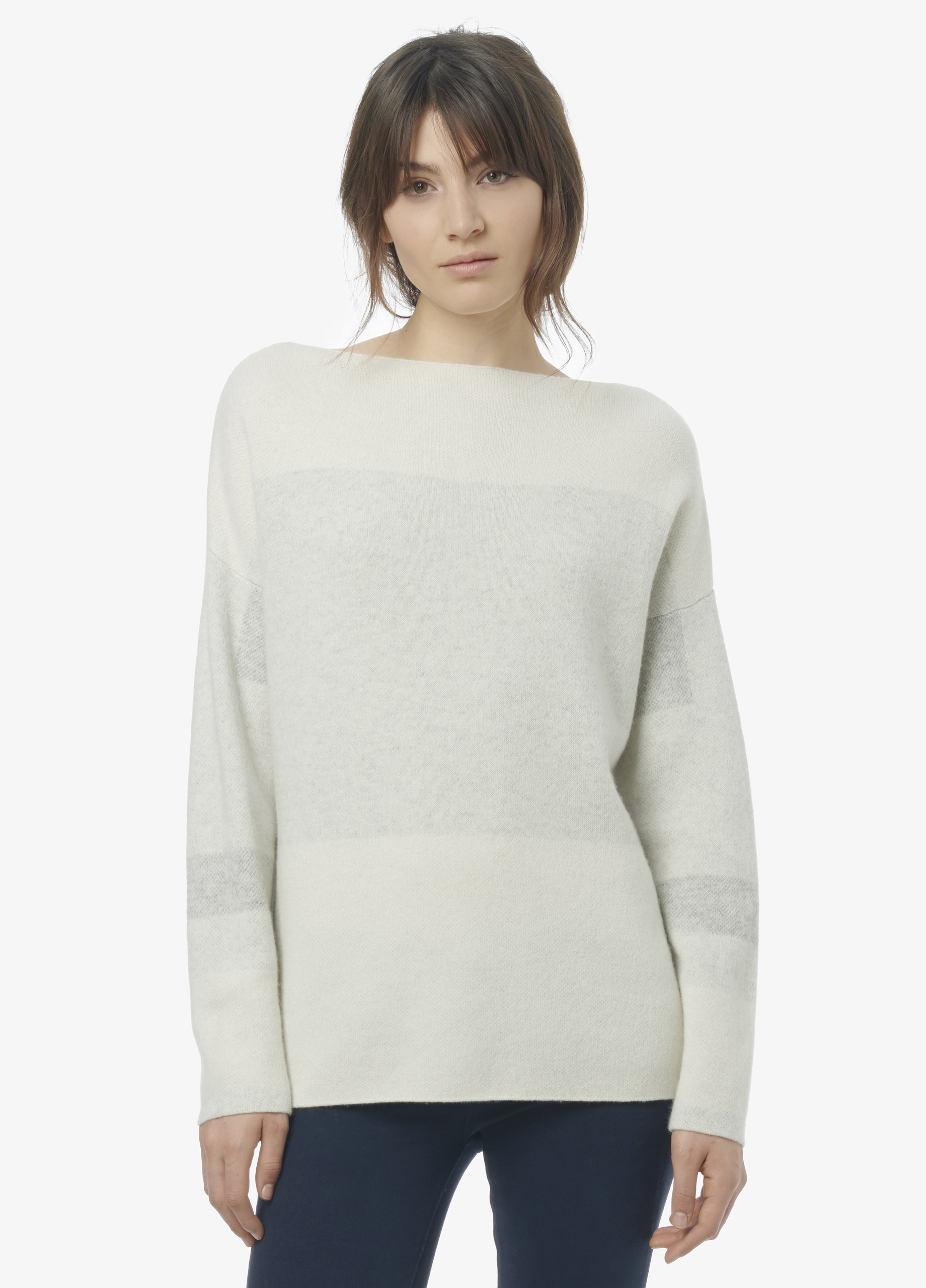 Vince Intarsia Wool Cashmere Boatneck Sweater in White | Lyst