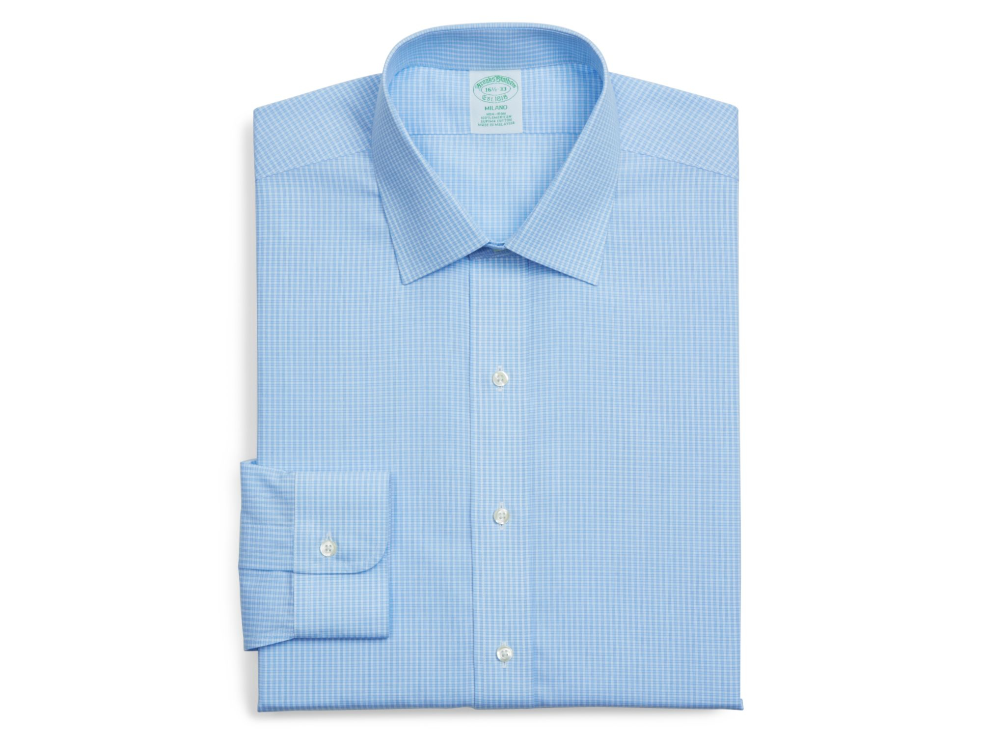 Lyst brooks brothers micro check milano non iron regular for Brooks brothers dress shirt fit