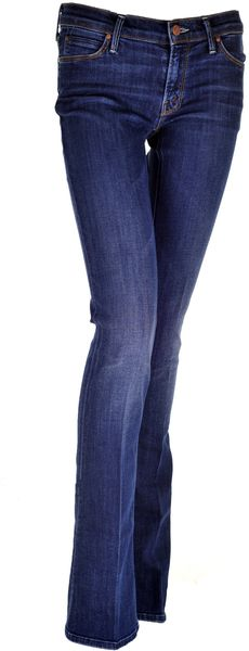 Mother The Runaway Skinny Flare Jeans in Flowers From The Storm in Blue (denim)