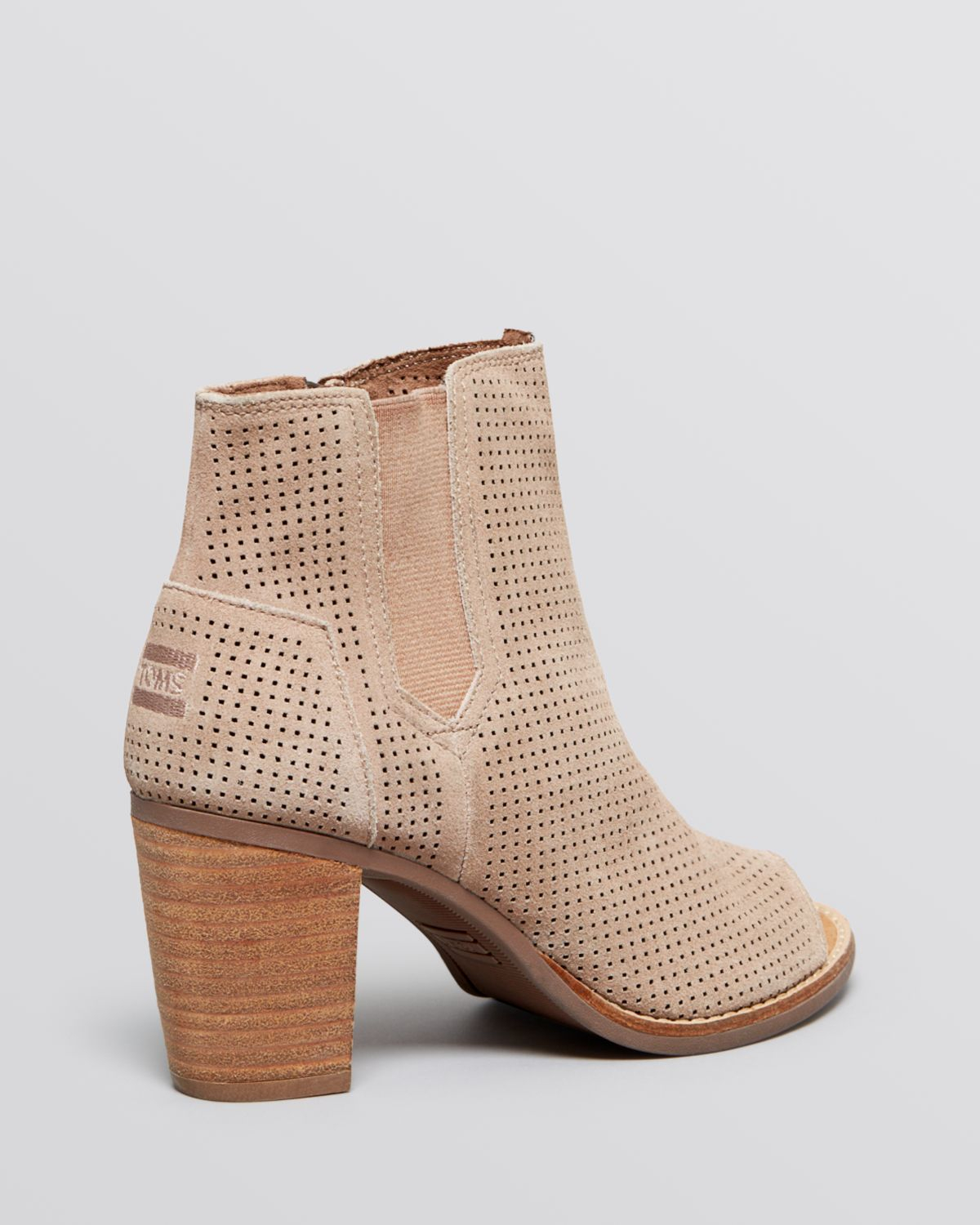 Lyst Toms Open Toe Perforated Booties Majorca In Brown