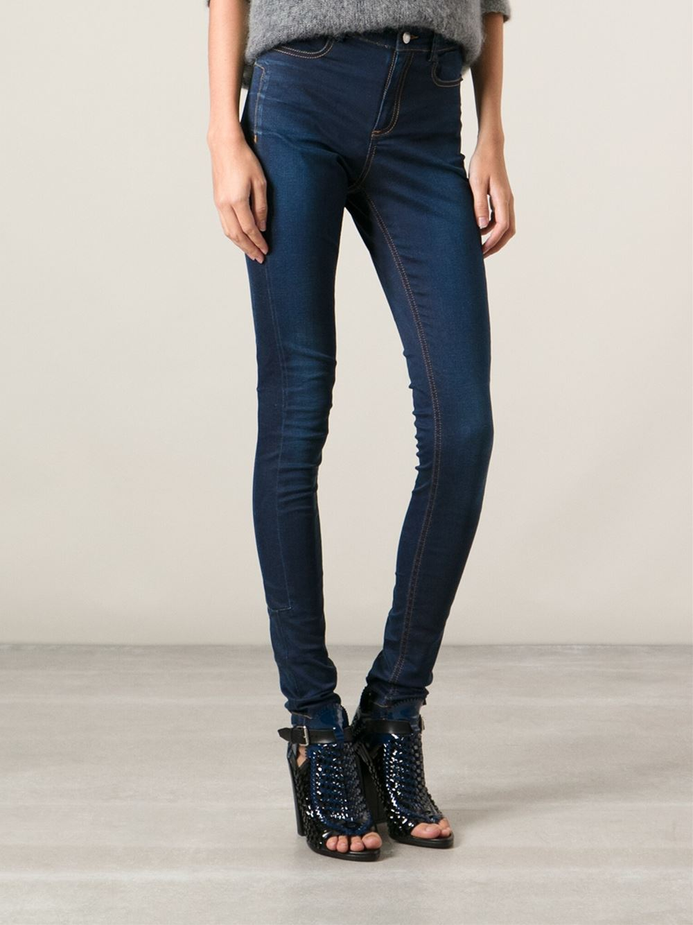 Costume national High Waisted Skinny Jeans in Blue | Lyst
