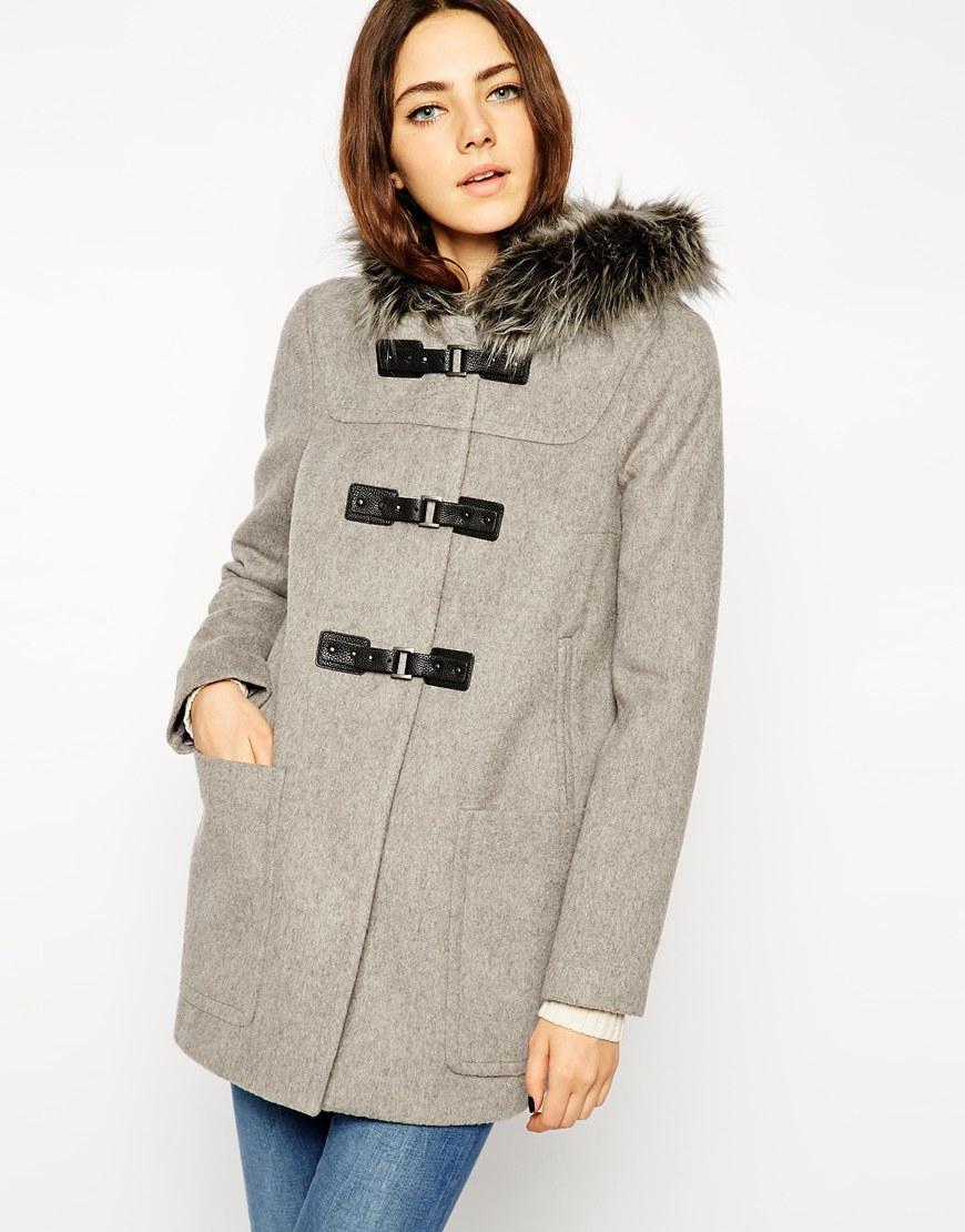 Asos Premium Duffle Coat With Faux Fur Hood in Gray | Lyst