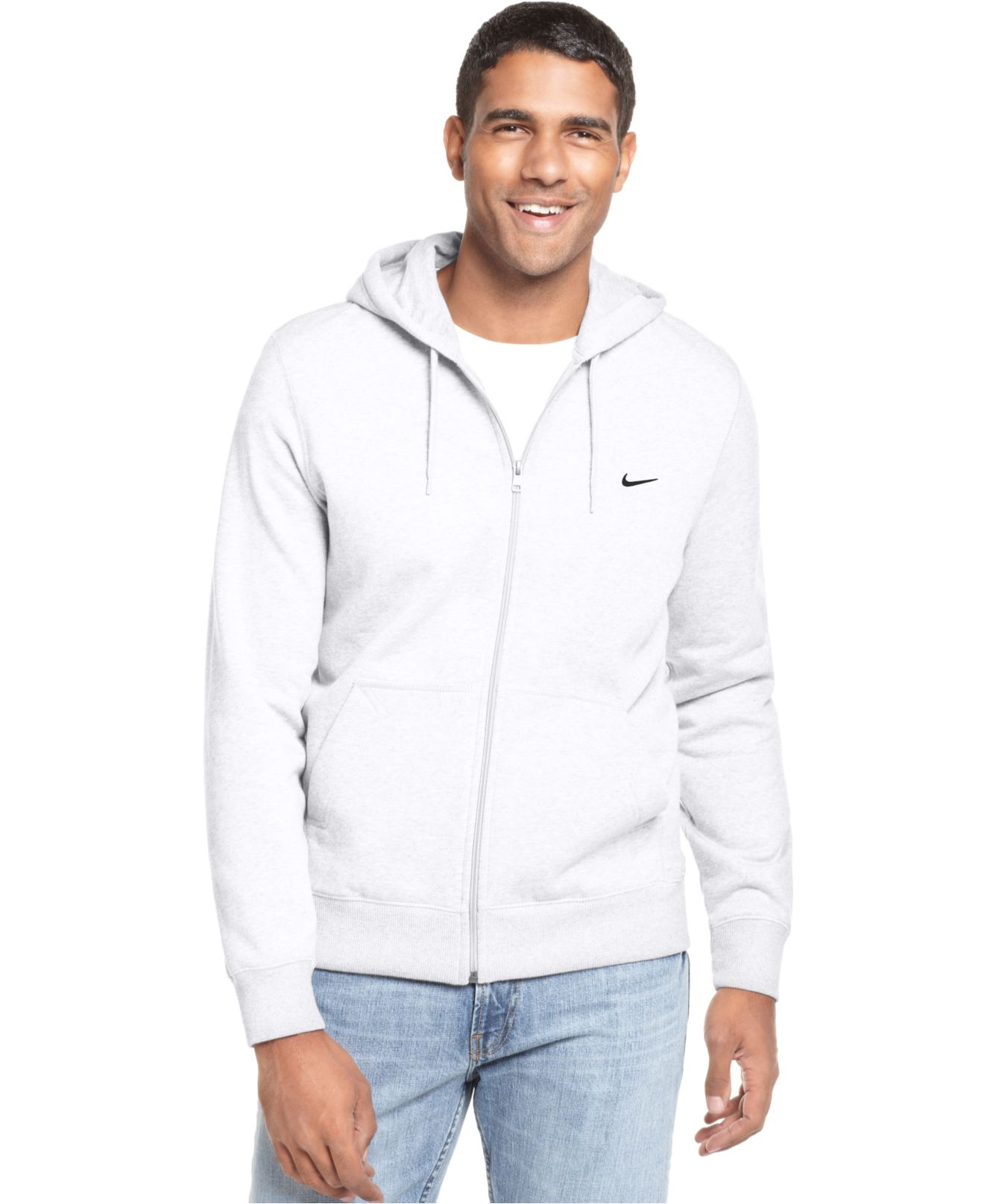 Nike Classic Fleece Full Zip Hoodie in White for Men | Lyst