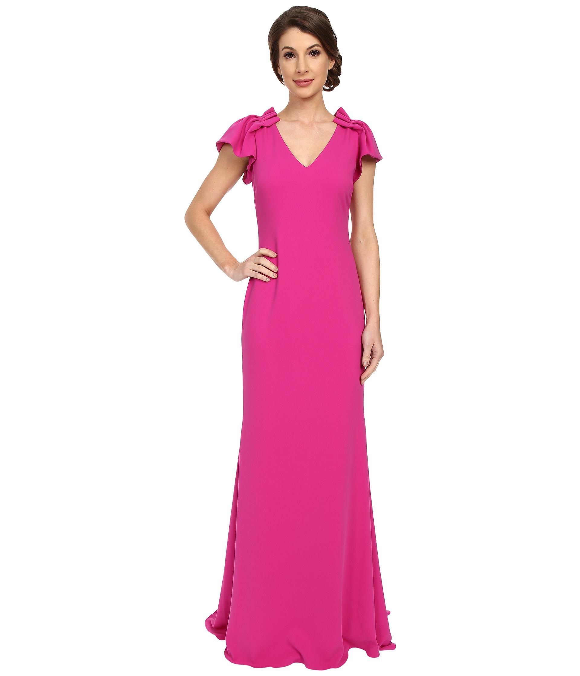Lyst - Badgley Mischka Ruffle Sleeve V-neck Gown in Purple