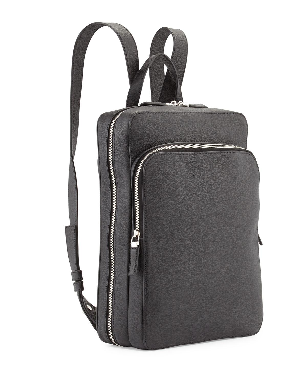 Prada Calfskin Slim Backpack With Zip Closures in Black | Lyst