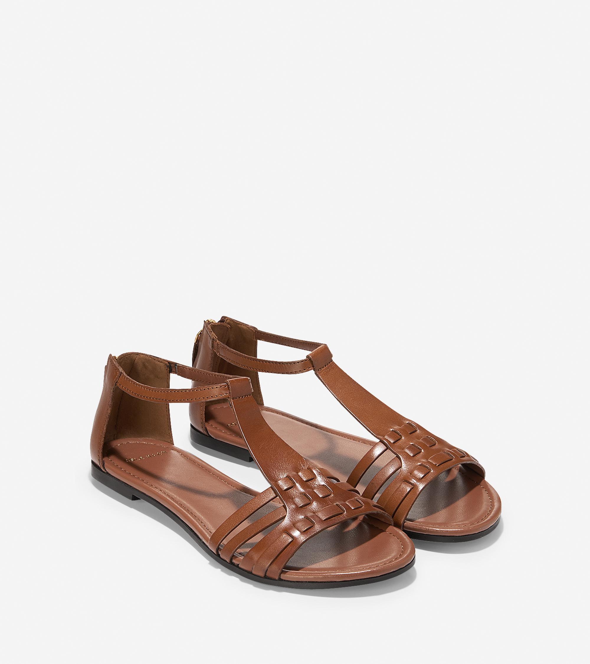 Original Cole Haan Cole Haan Jensen Flat Women Leather Brown Gladiator Sandal