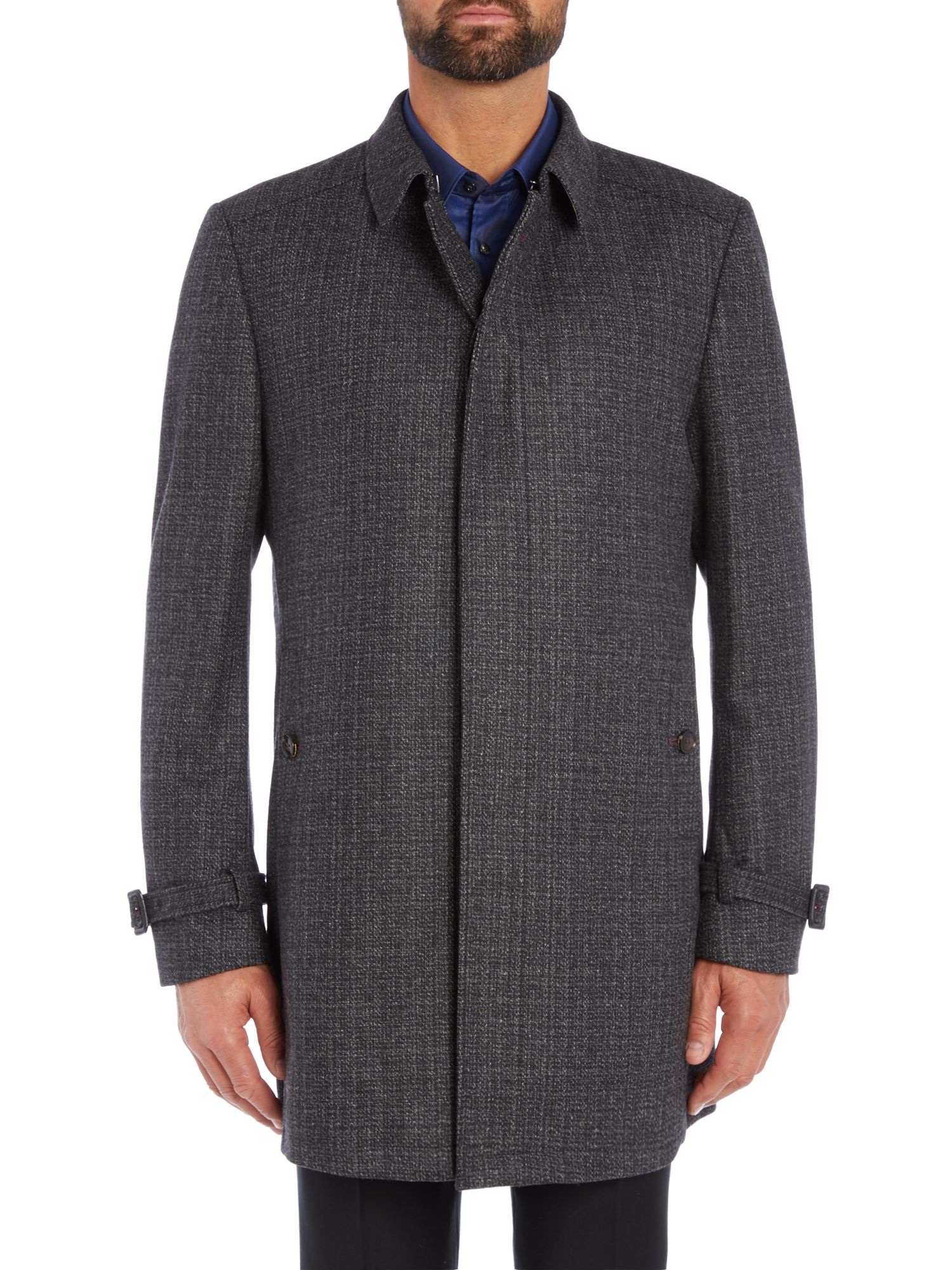 Ted Baker Wool Alabama Textured Coat In Charcoal Gray