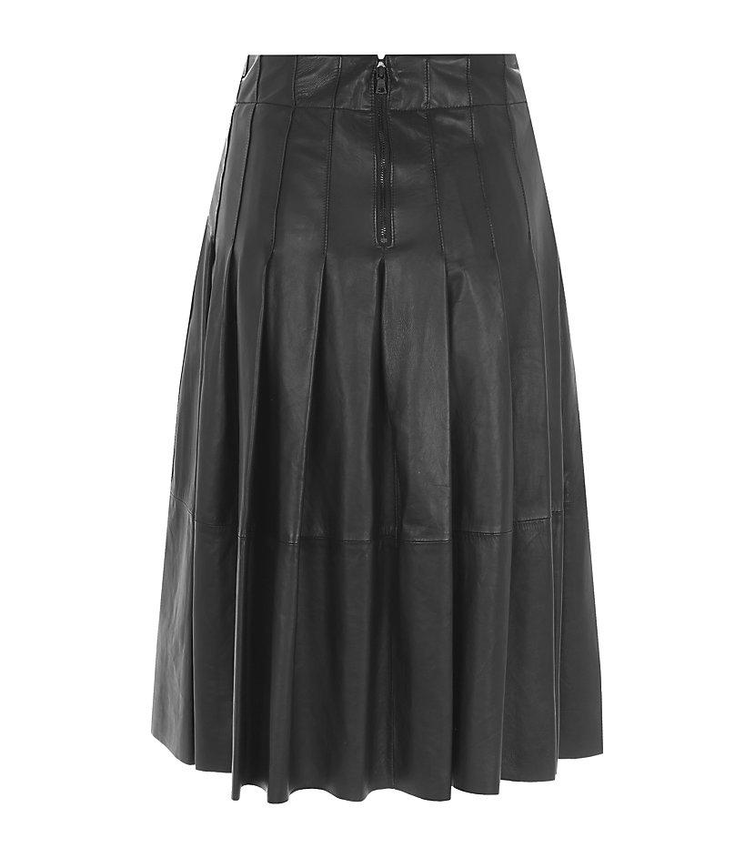 tatum pleated leather skirt in black lyst