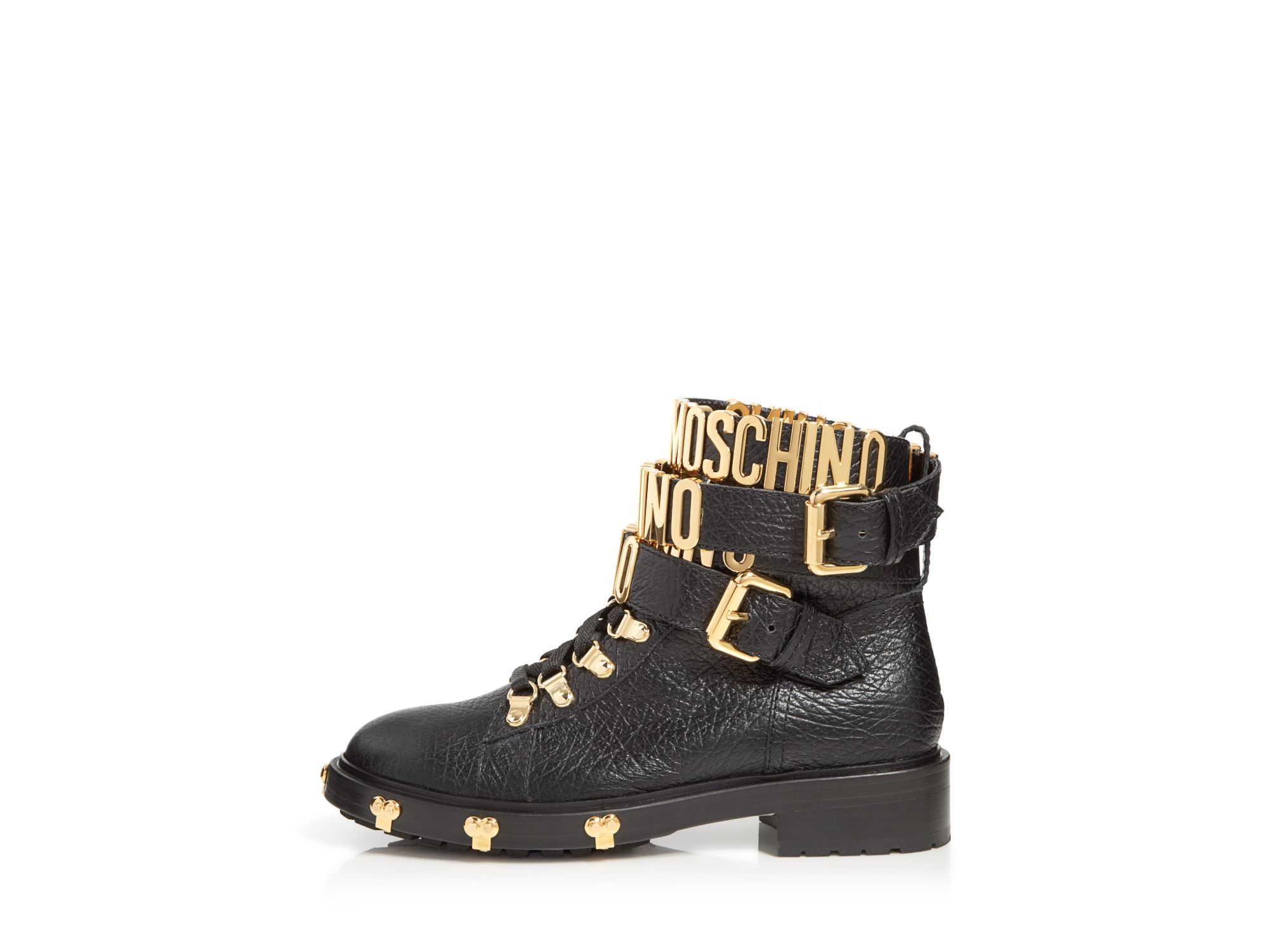 Moschino Leather Boots - Logo Strap