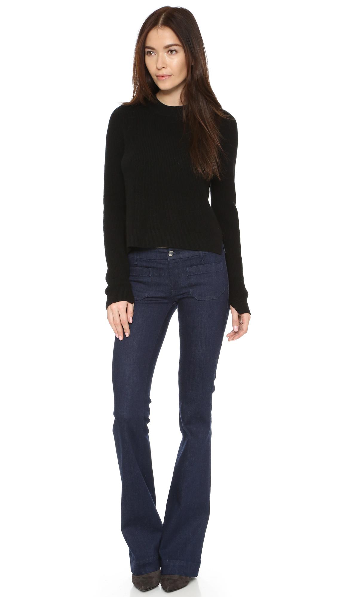 The Seafarer Penelope Flare Jeans - Dark Wash in Blue