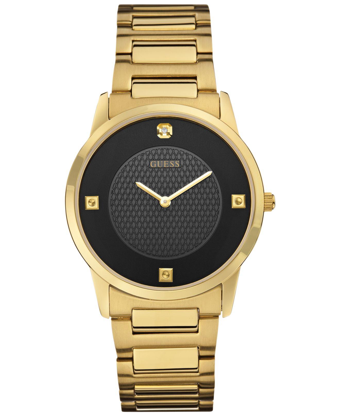 Guess Men's Diamond Accent Gold-tone Steel Bracelet Watch ...