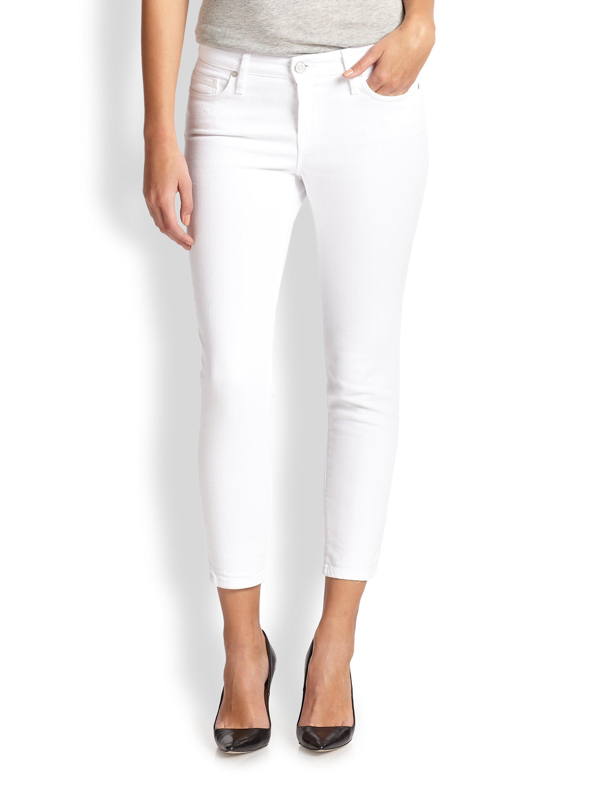 Joie Skinny Cropped Jeans in White | Lyst