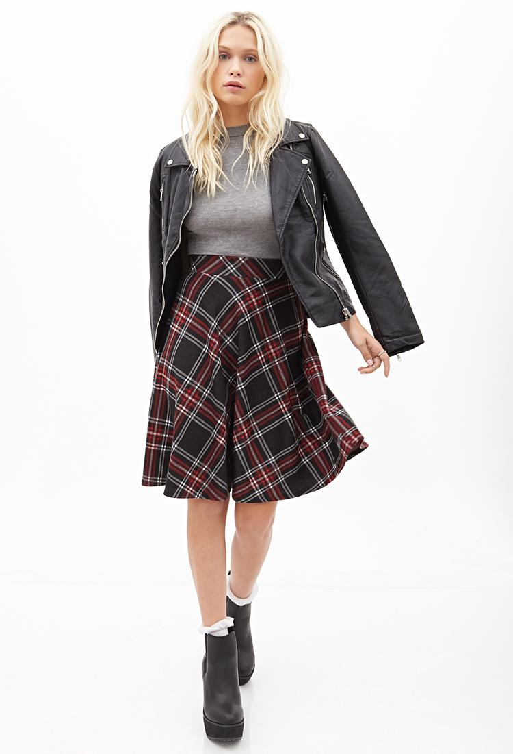 Forever 21 Diagonal Plaid Skirt in Black   Lyst