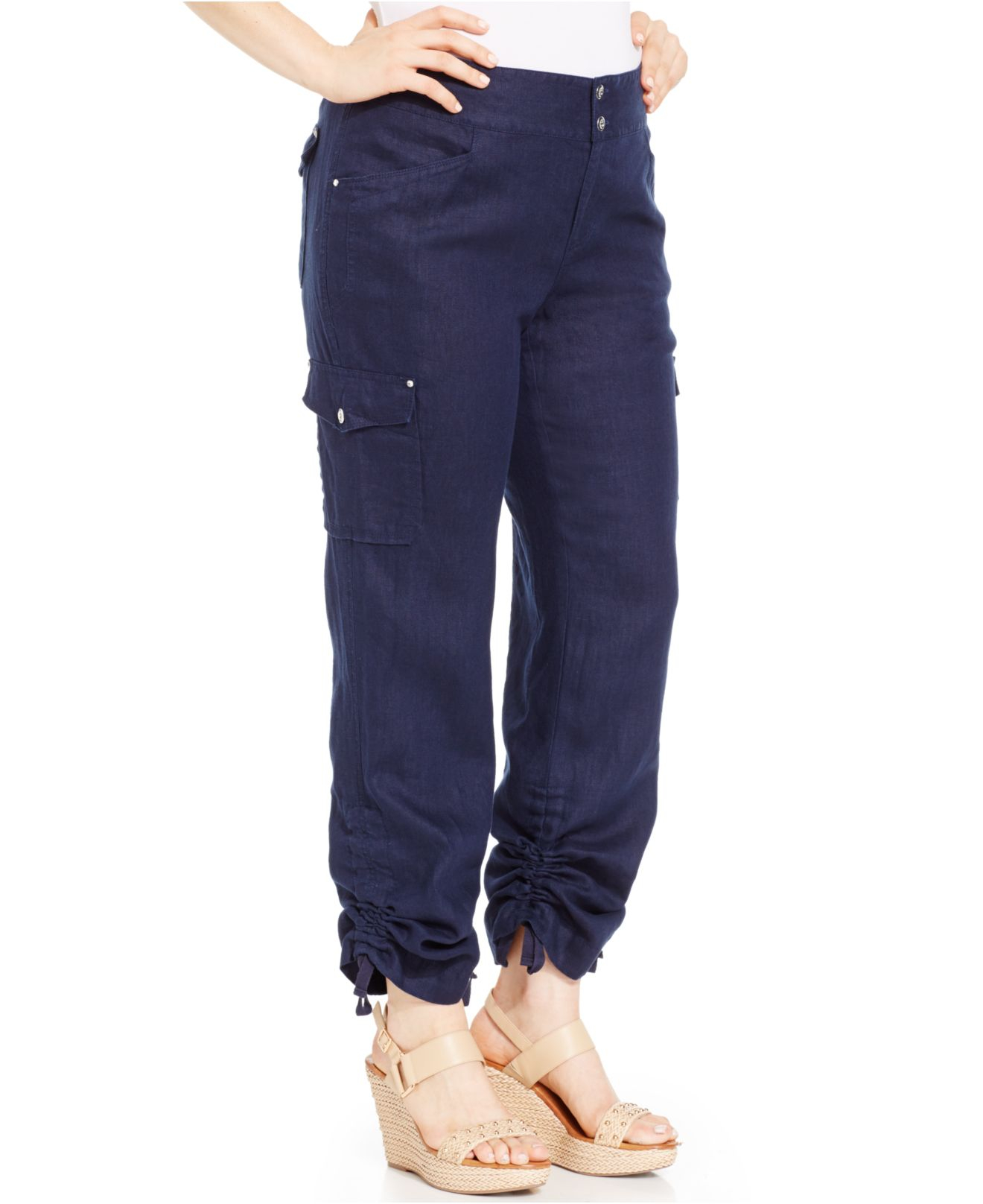 eb7e2e29a37 Lyst - INC International Concepts Plus Size Ruched Linen Cargo Pants ...