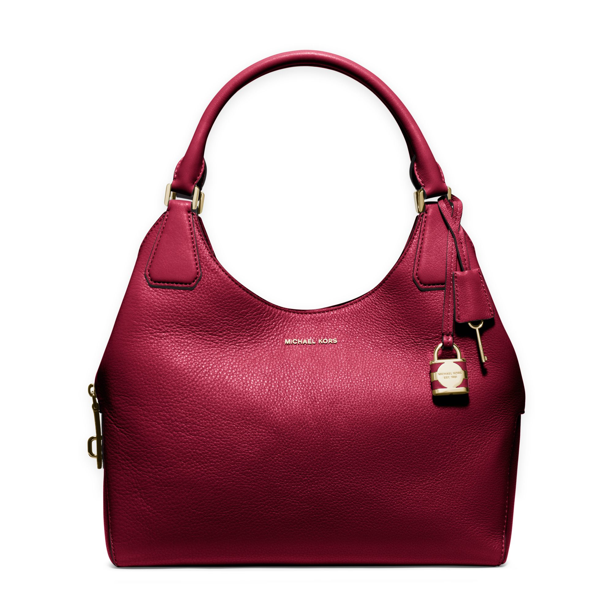 Michael kors Camille Large Leather Shoulder Bag in Red | Lyst