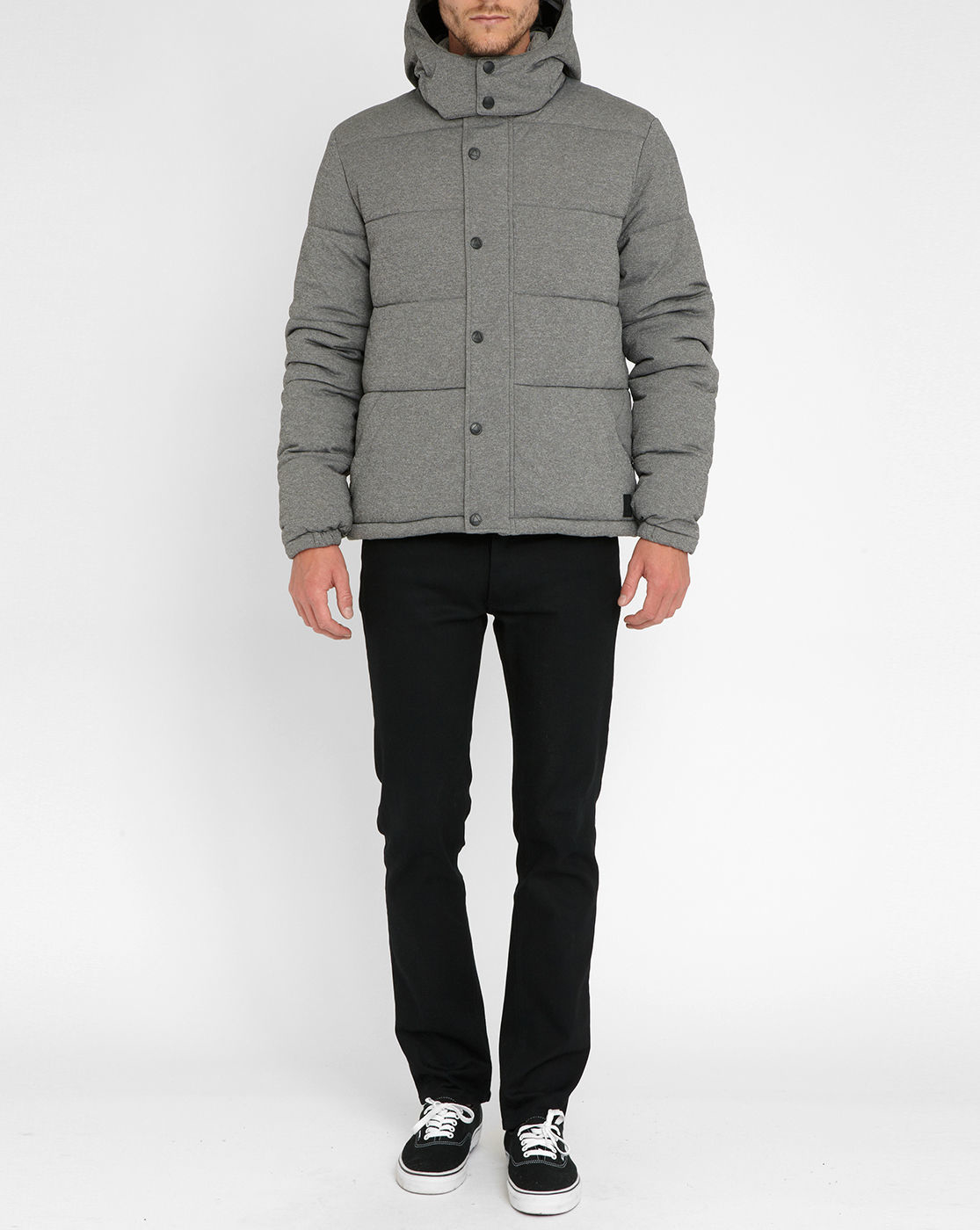 eleven paris mottled grey melco nylon down jacket in gray for men grey lyst. Black Bedroom Furniture Sets. Home Design Ideas