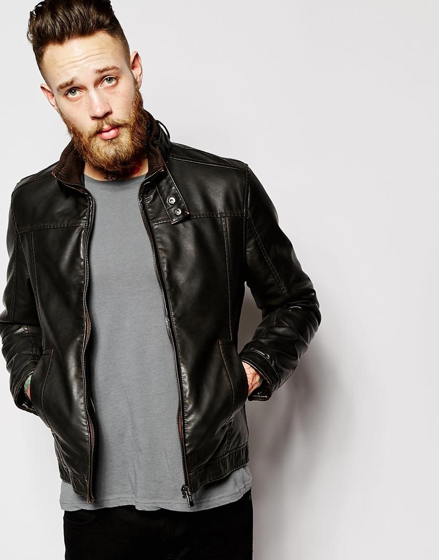 34ddfe20e Barneys Originals Brown Barneys Faux Leather Biker Jacket for men