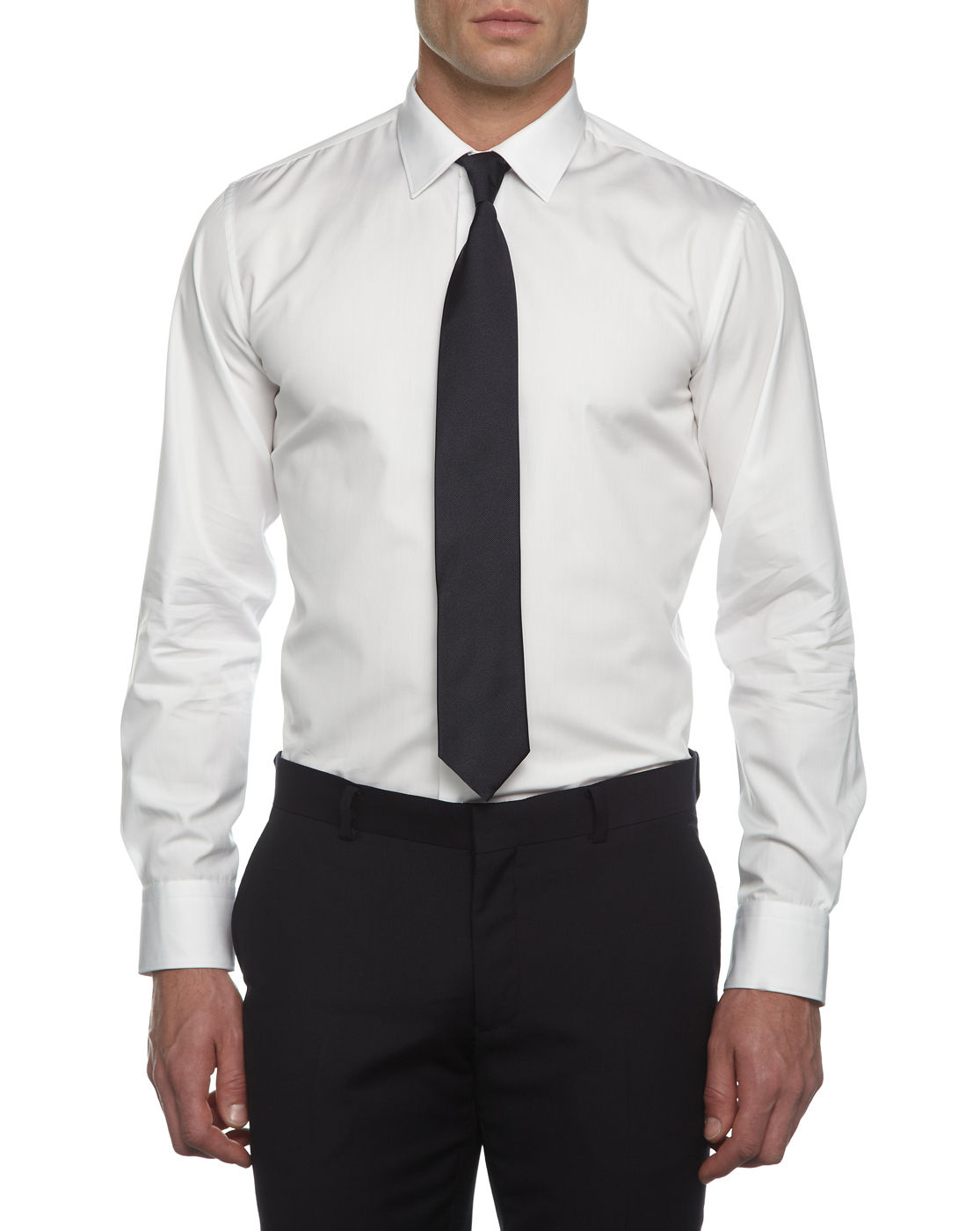 alain figaret slim fit white poplin dress shirt in white