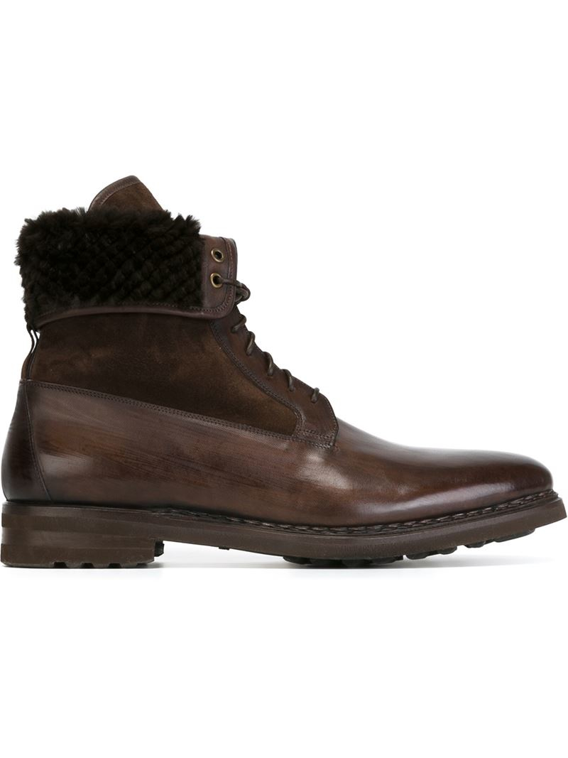 santoni lace up ankle boots in brown for lyst