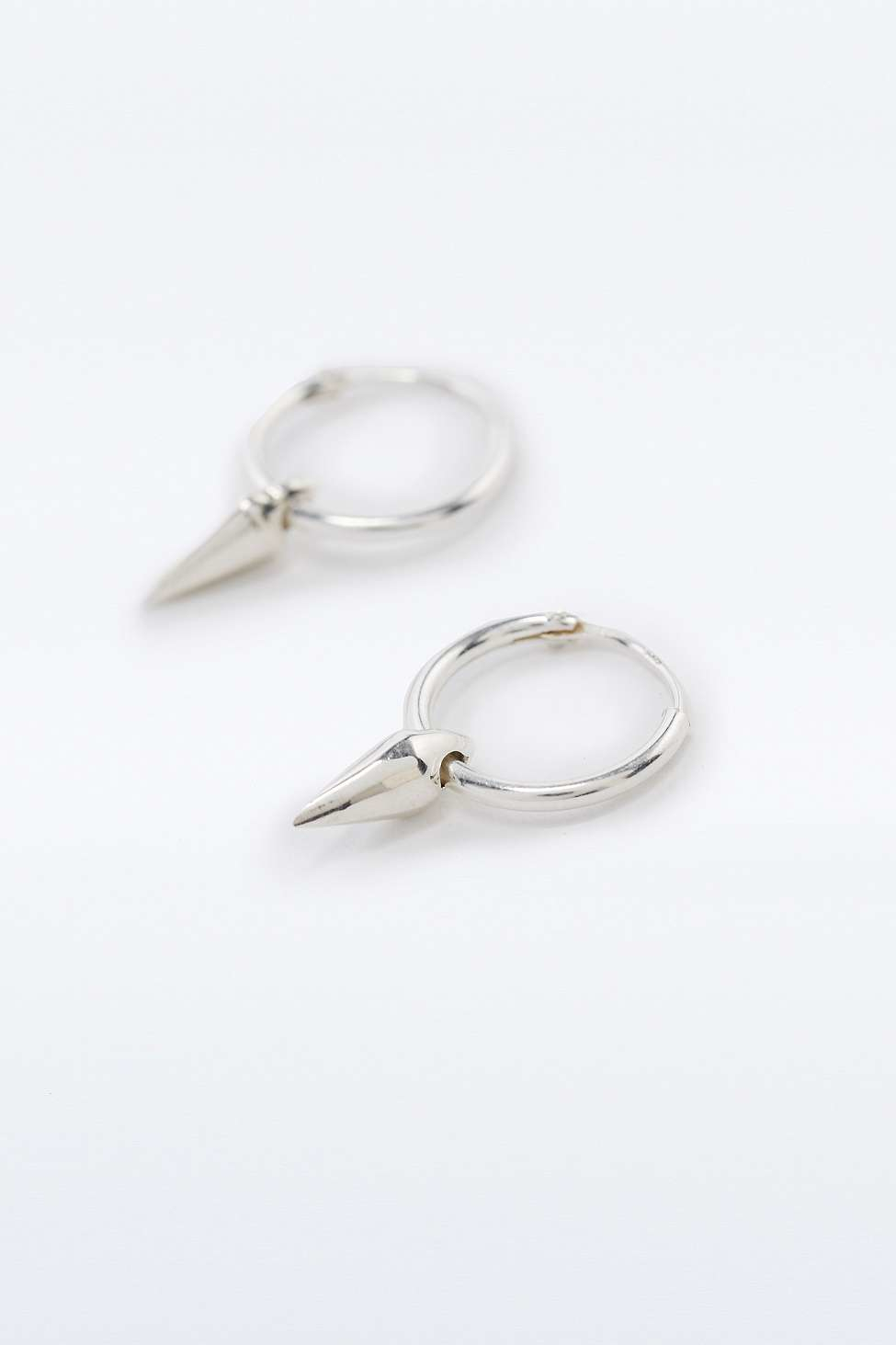 Urban Outfitters Sterling Silver Spike Hoop Earrings In