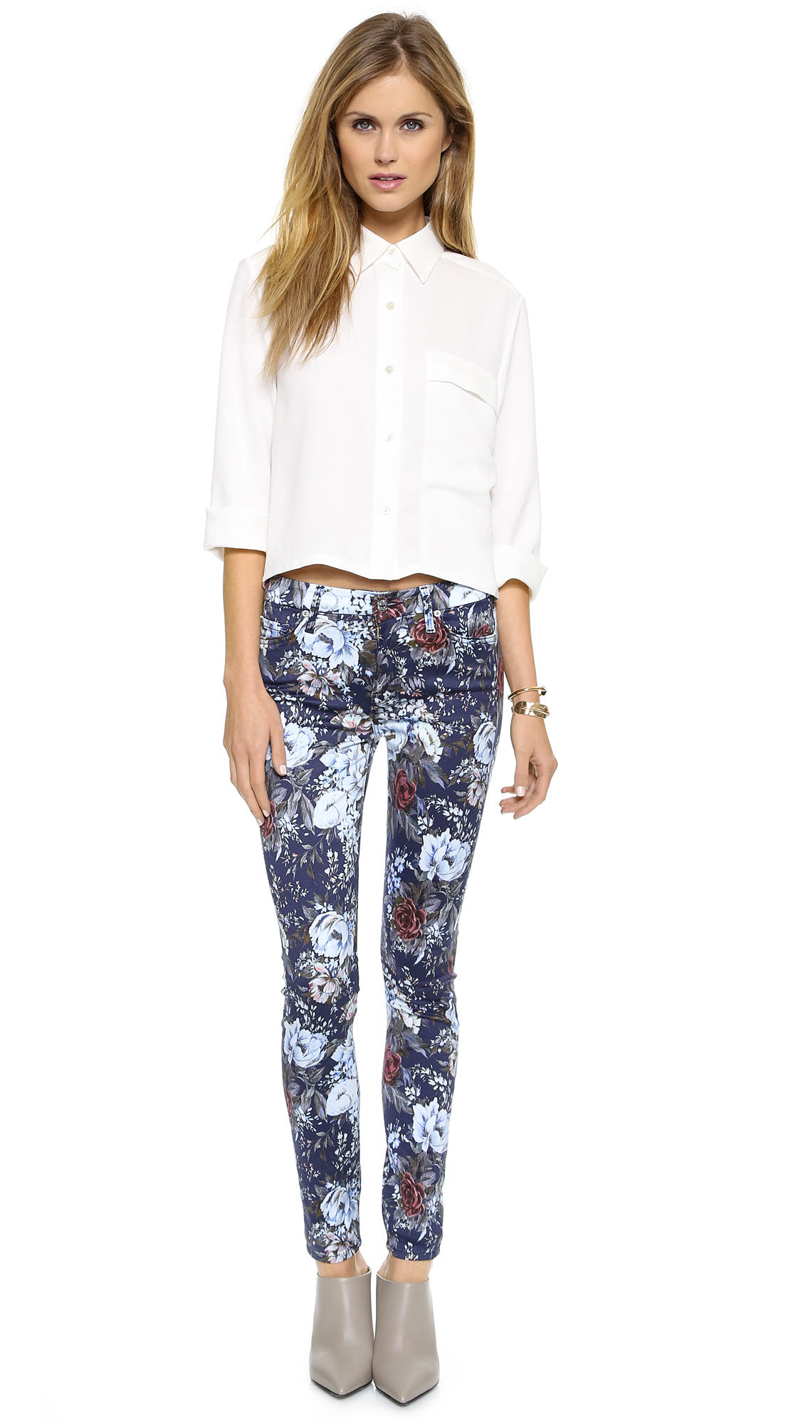 lyst 7 for all mankind cropped blouse with long pocket. Black Bedroom Furniture Sets. Home Design Ideas