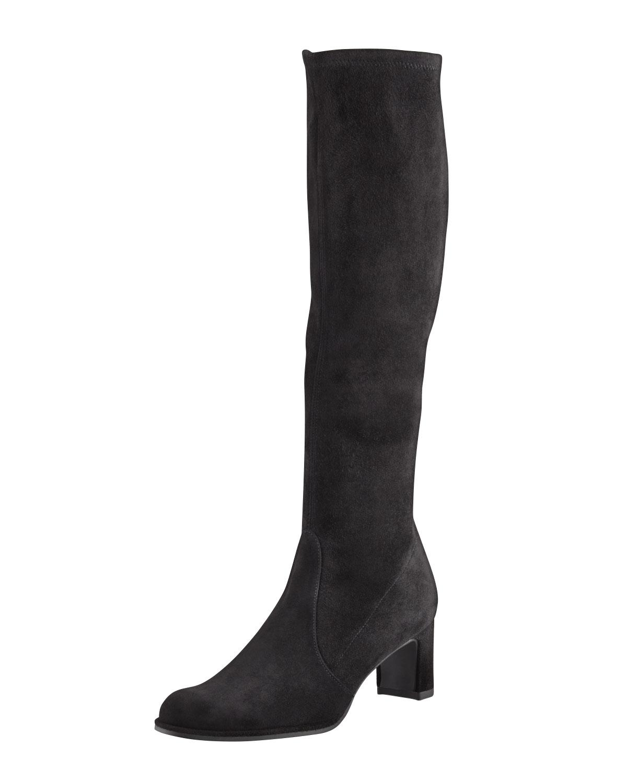 stuart weitzman chicboot stretch suede knee boot in black