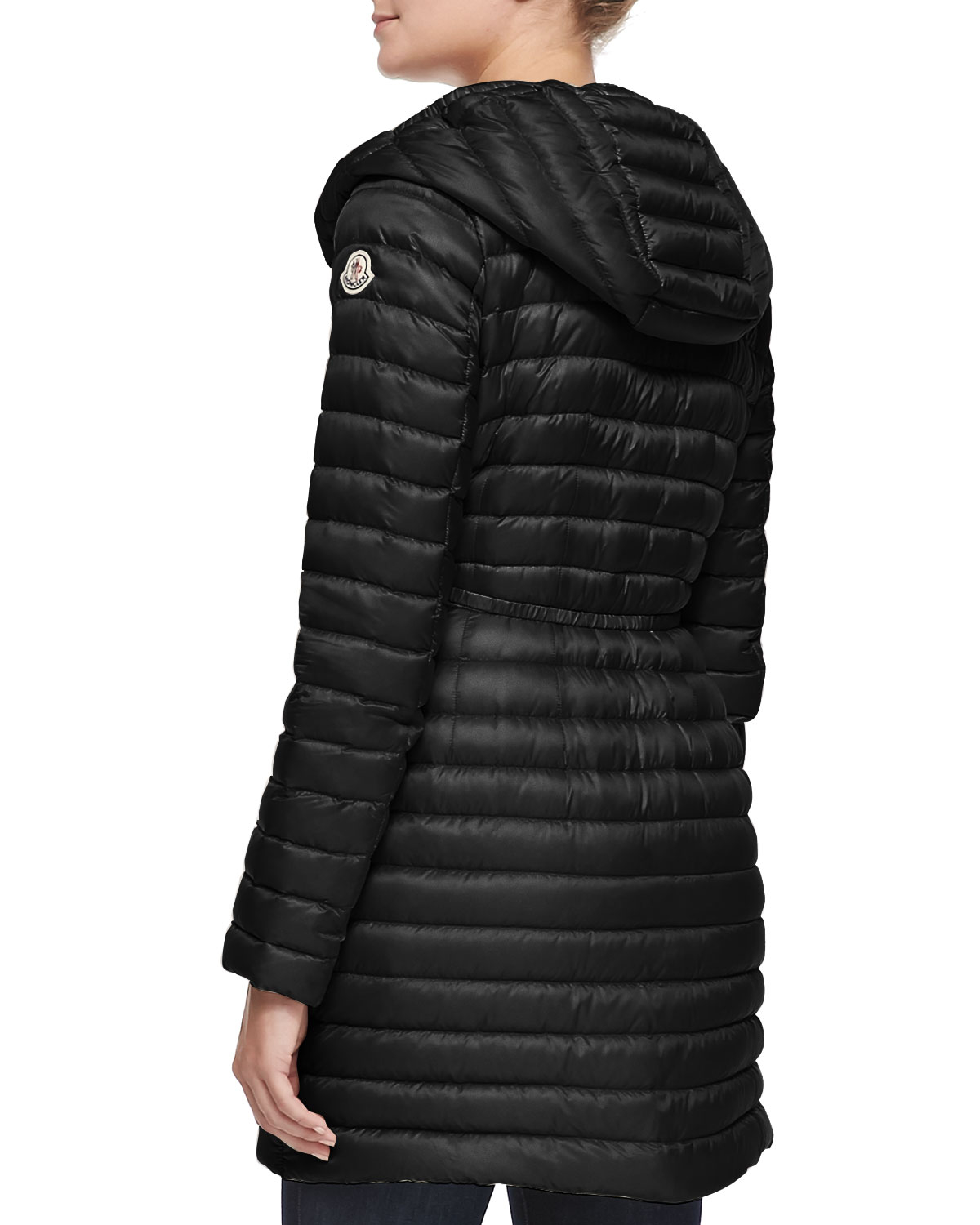 c5b216cd3 Moncler Black Barbel Hooded Down-fill Knee-length Jacket