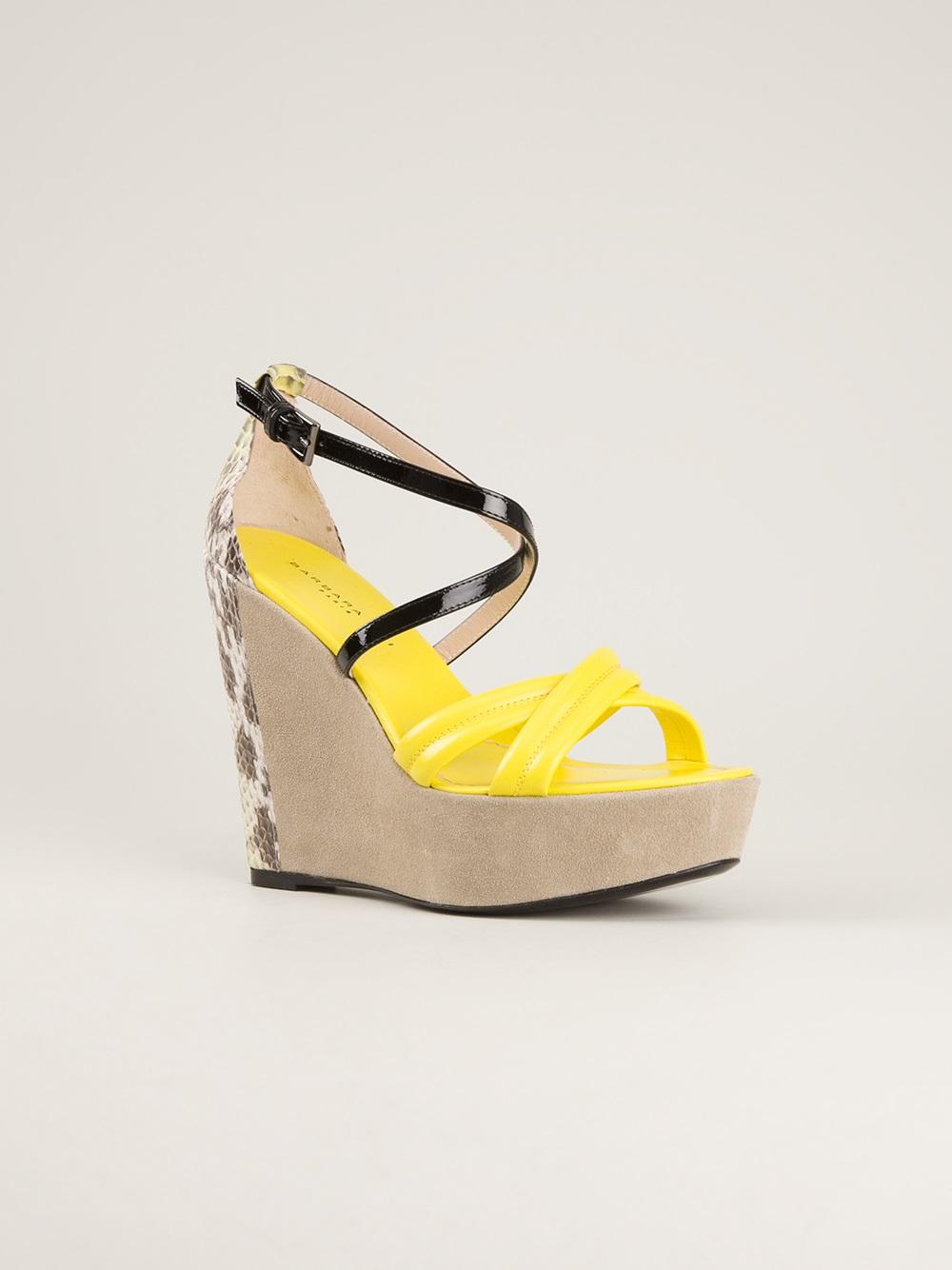 Lyst Barbara Bui Wedge Sandal In Yellow