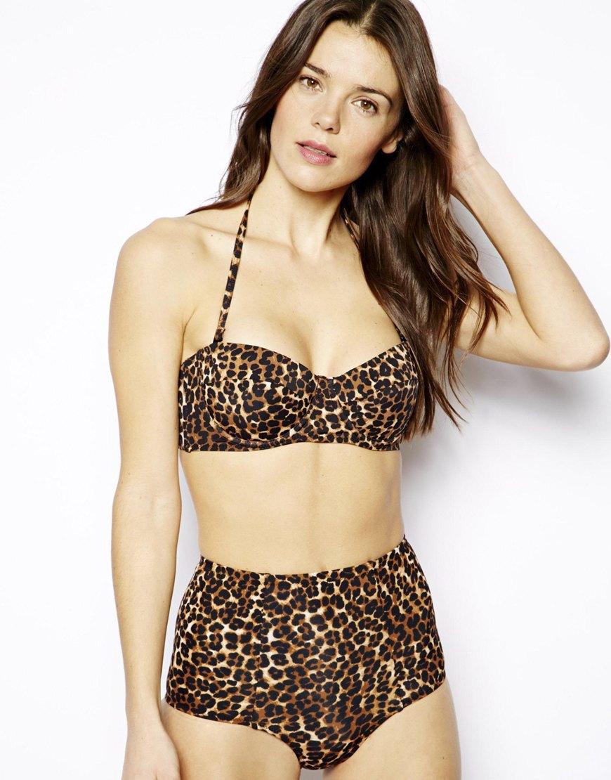3216b2f03e Lyst - ASOS Mix And Match Leopard Print High-waist Bikini Bottom