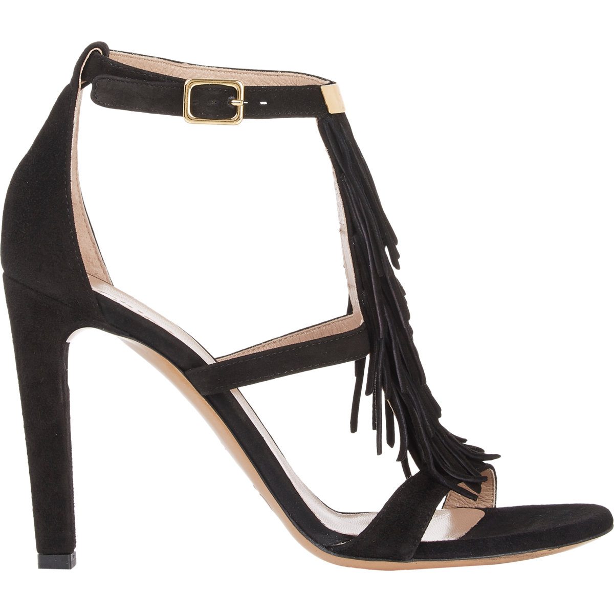 chlo 233 suede fringe trim sandals in black lyst