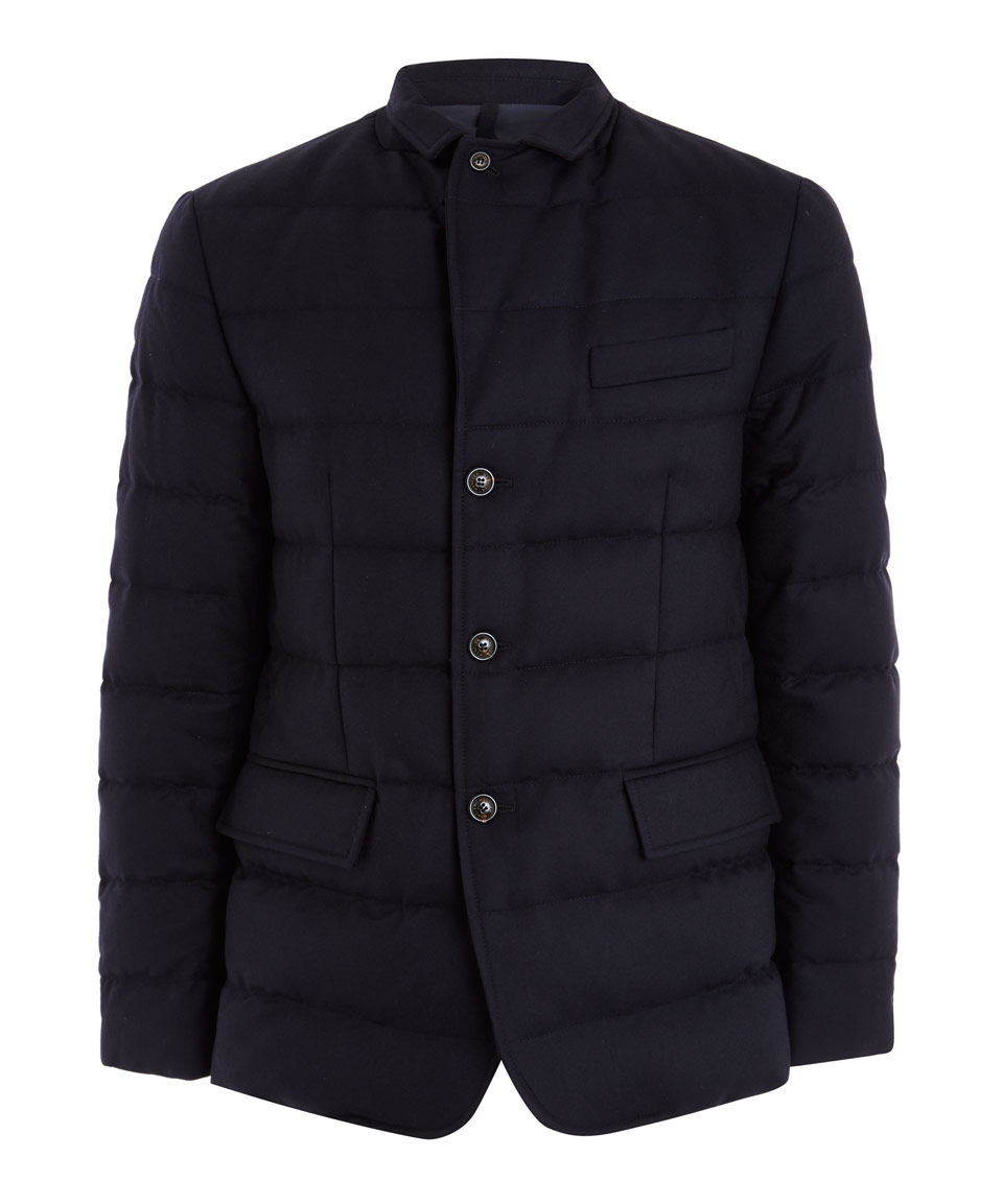Quilted Blazers: Moncler Navy Quilted Down Wool-flannel Blazer In