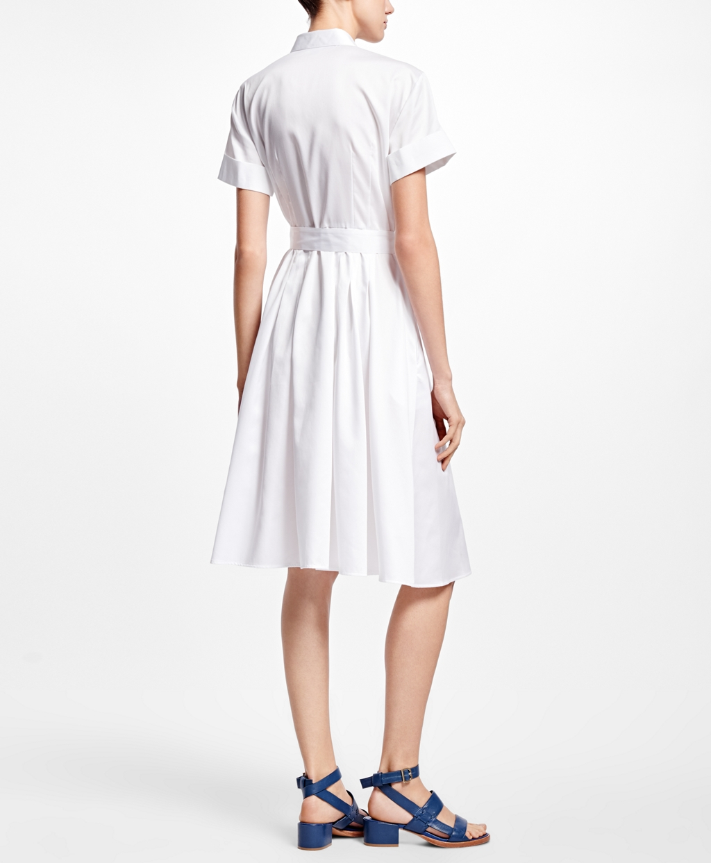 Brooks Brothers Cotton Sateen Shirt Dress in White - Lyst