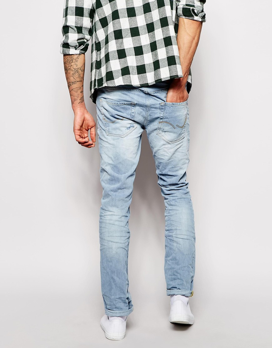jack jones slim fit jeans with rips in blue for men lightbluedenim. Black Bedroom Furniture Sets. Home Design Ideas