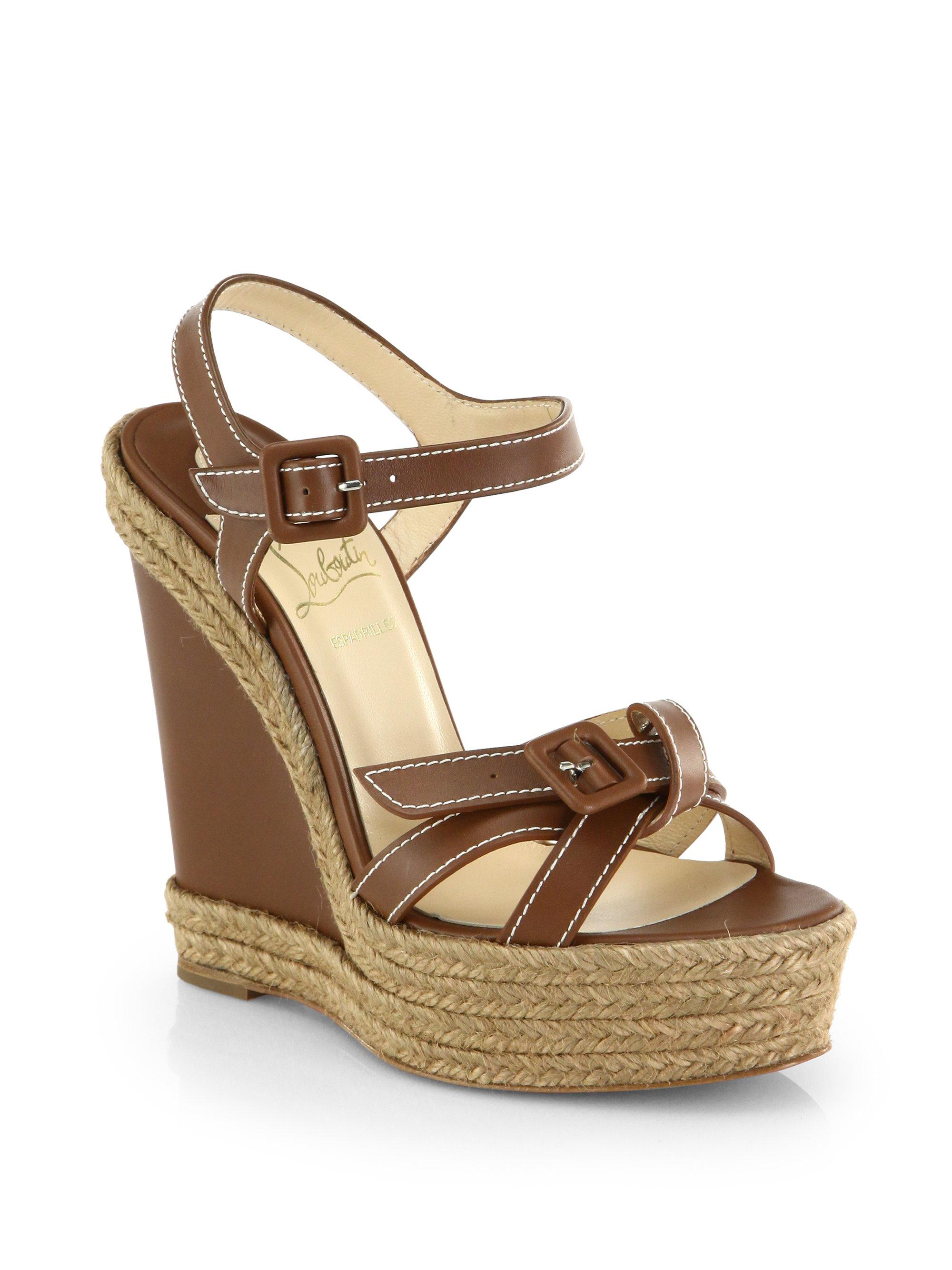 Christian Louboutin Brown Zero Problem Leather Espadrille Wedge Sandals