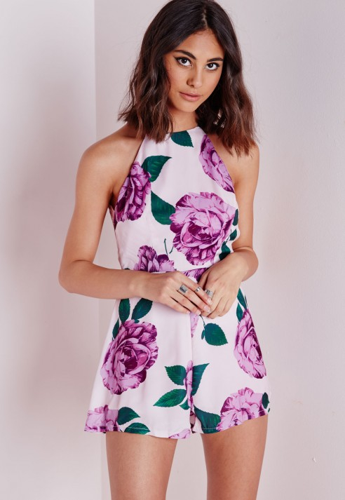 Missguided Floral Strappy Back Playsuit Blush in Pink