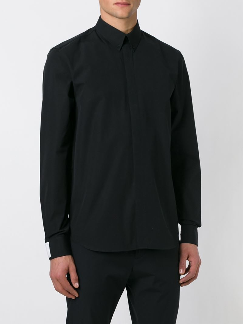 Lyst givenchy button down shirt in black for men for Mens black button down shirt